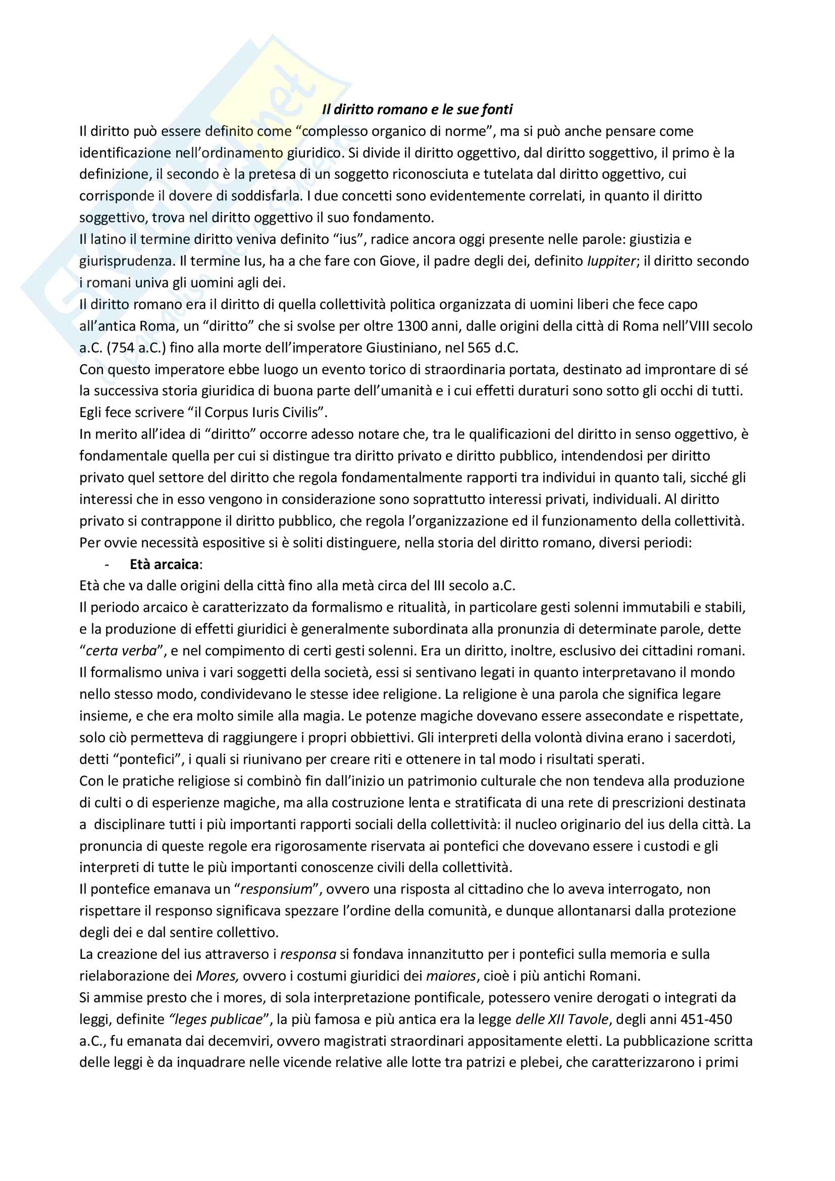 Appunti per l'esame di istituzioni di diritto romano