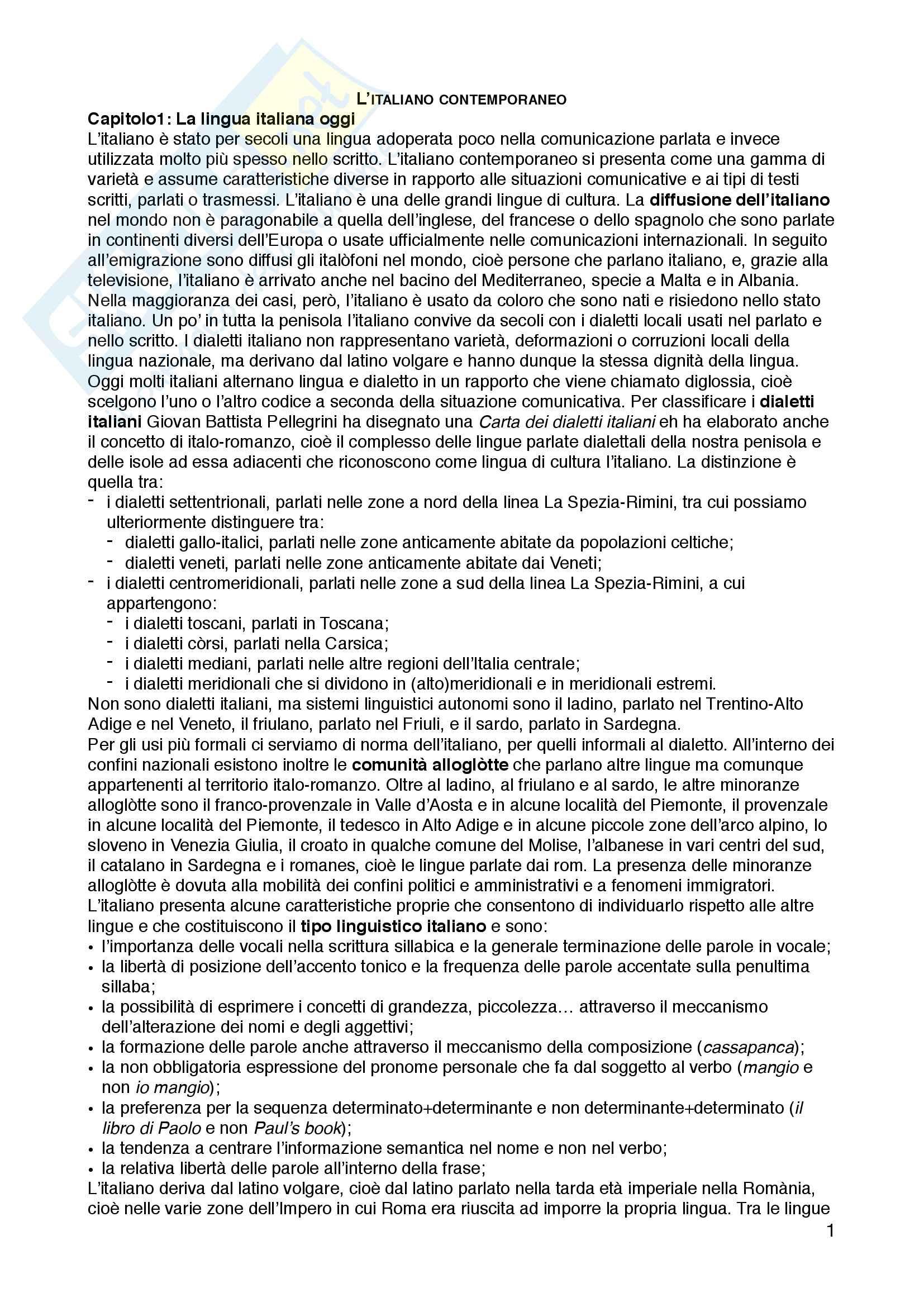 """Riassunto esame Linguistica italiana, prof.ssa Raffaella Setti, libro consigliato """"L'italiano contemporaneo"""", D'Achille Paolo"""