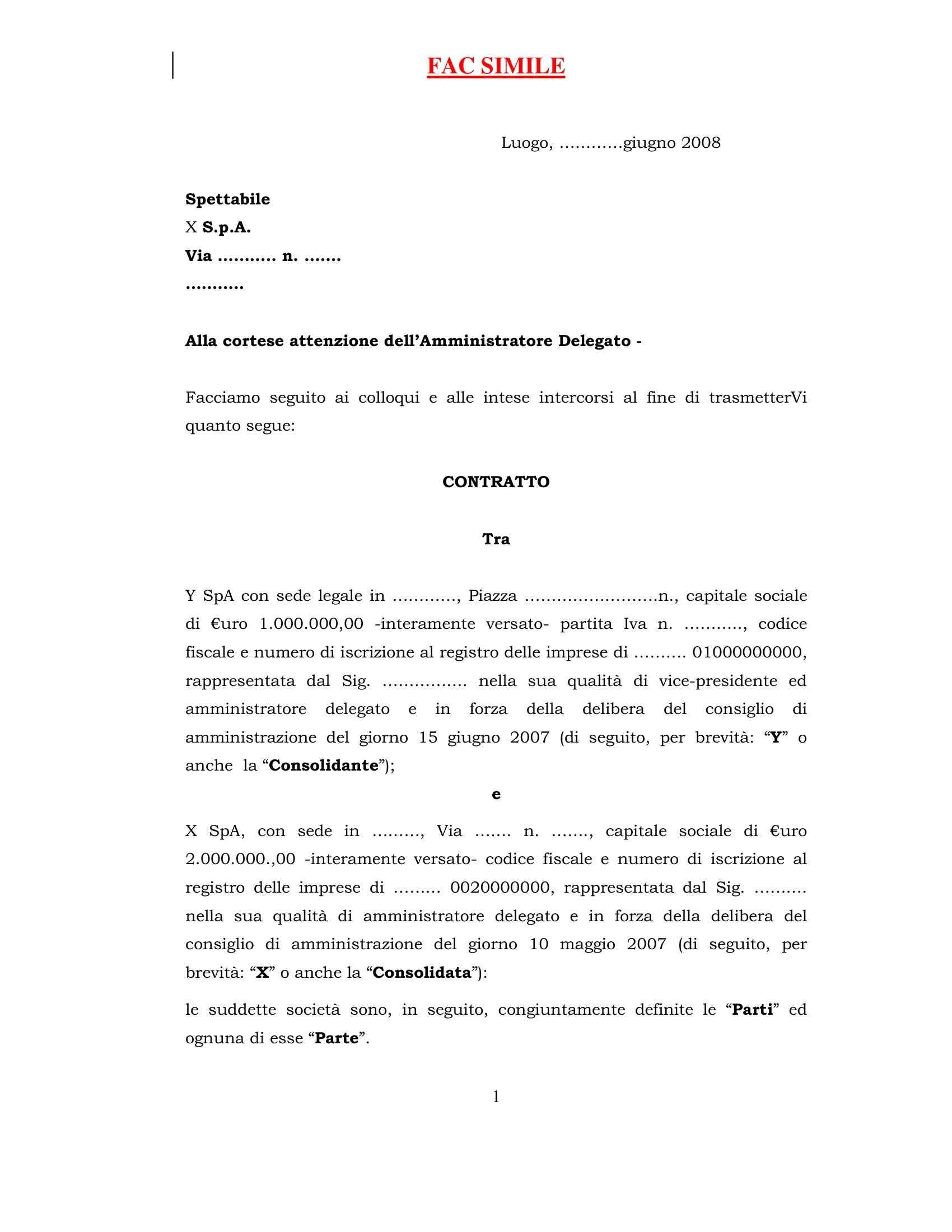 Contratto di consolidato