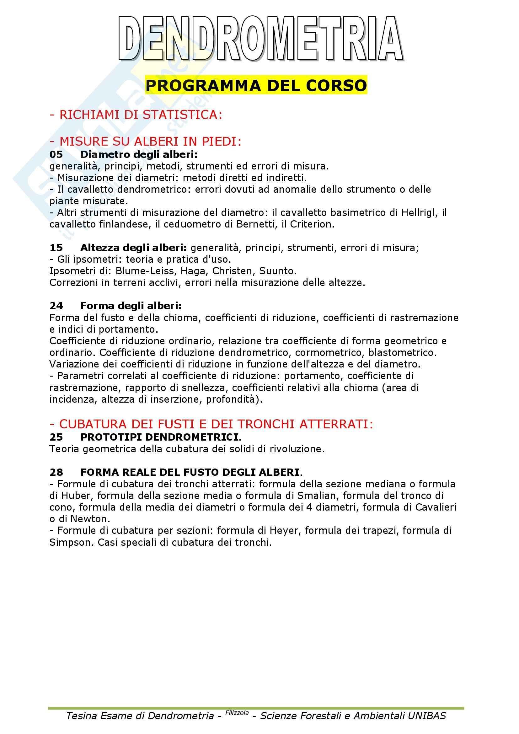 Dendrometria - Appunti