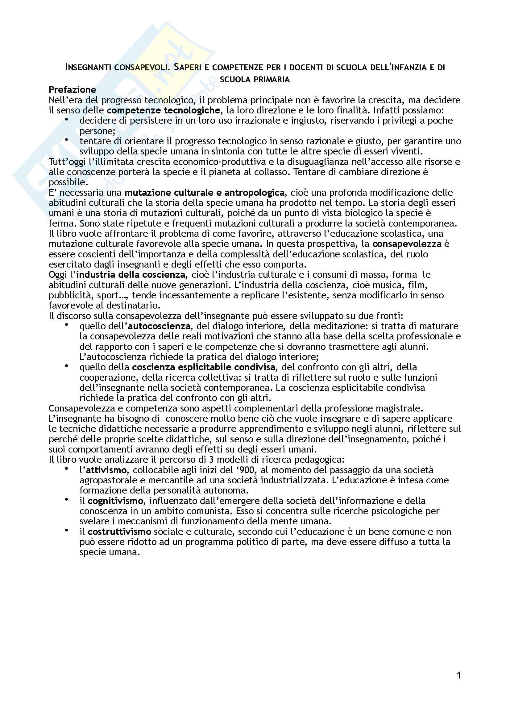 """Riassunto esame Didattica generale, prof. Giuliano Franceschini, libro consigliato """"Insegnanti consapevoli. Saperi e competenze per insegnanti di scuola dell'infanzia e di scuola primaria"""", Franceschini Giuliano"""