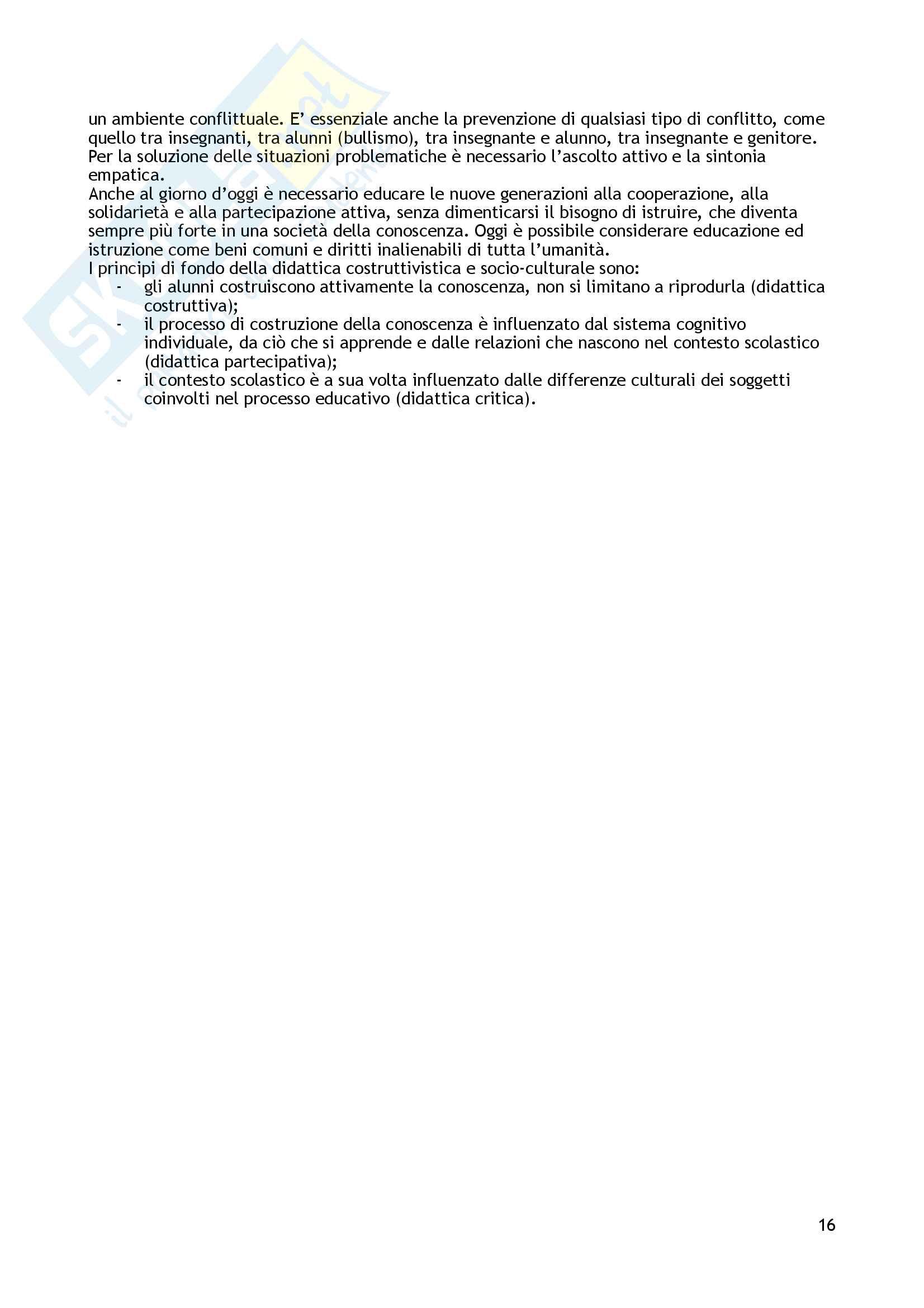 """Riassunto esame Didattica generale, prof. Giuliano Franceschini, libro consigliato """"Insegnanti consapevoli. Saperi e competenze per insegnanti di scuola dell'infanzia e di scuola primaria"""", Franceschini Giuliano Pag. 16"""