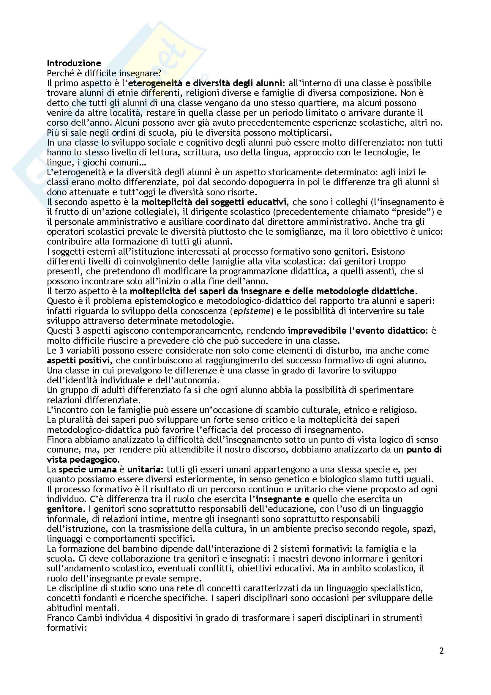 """Riassunto esame Didattica generale, prof. Giuliano Franceschini, libro consigliato """"Insegnanti consapevoli. Saperi e competenze per insegnanti di scuola dell'infanzia e di scuola primaria"""", Franceschini Giuliano Pag. 2"""