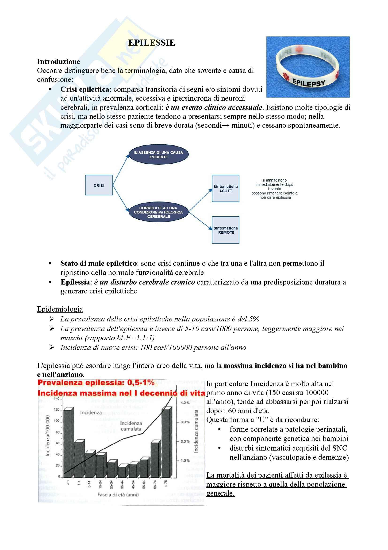 Riassunto esame Neurologia, prof.  Pinessi, Libro consigliato Il Bergamini di Neurologia, Bergamini: Epilessie