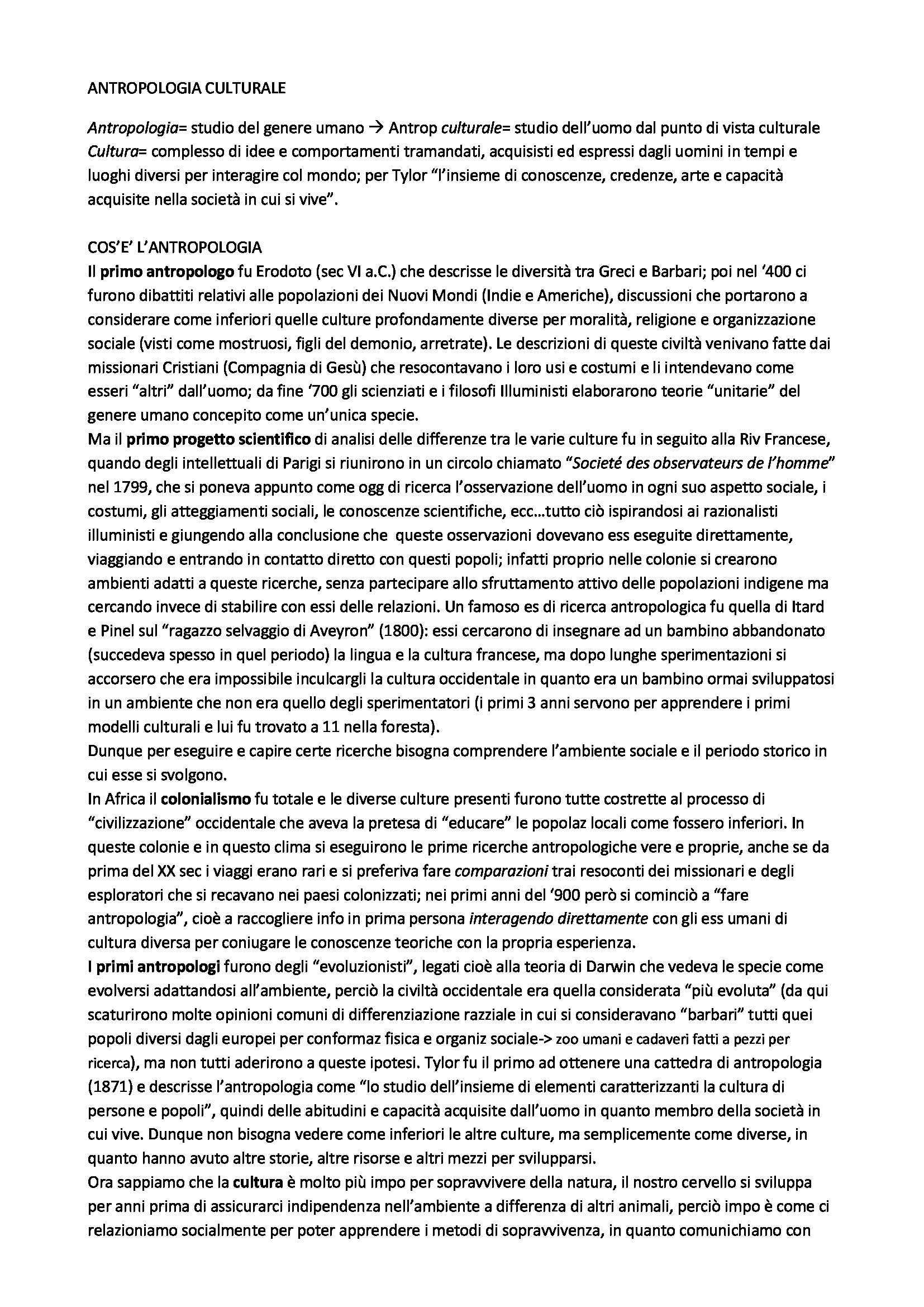 Riassunto esame Antropologia Culturale, prof. Beneduce, libro consigliato Elementi di Antropologia Culturale, Fabietti