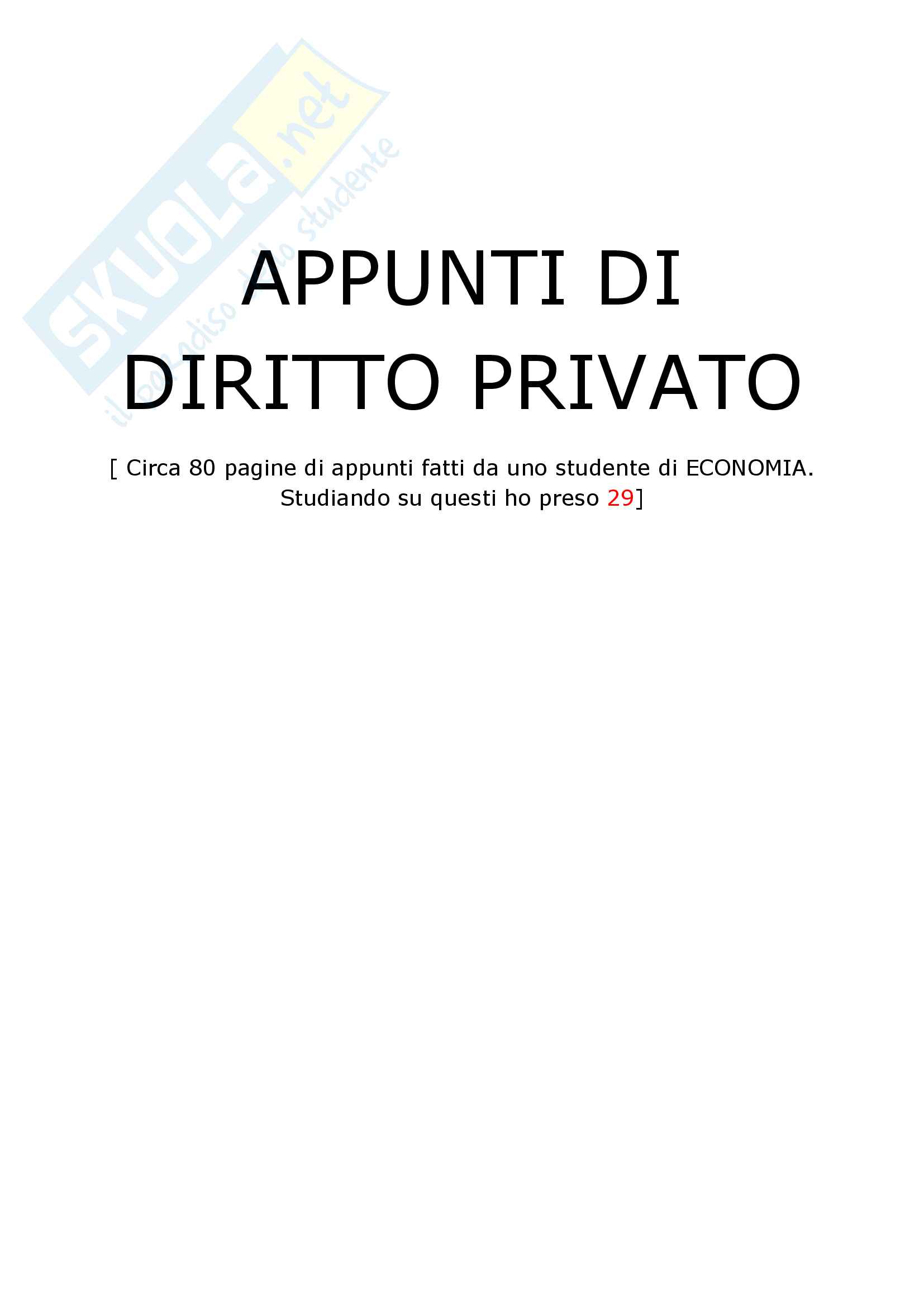 Riassunto Esame Diritto Privato, prof Mucciarelli, Vignudelli, Basenghi, Cotterli