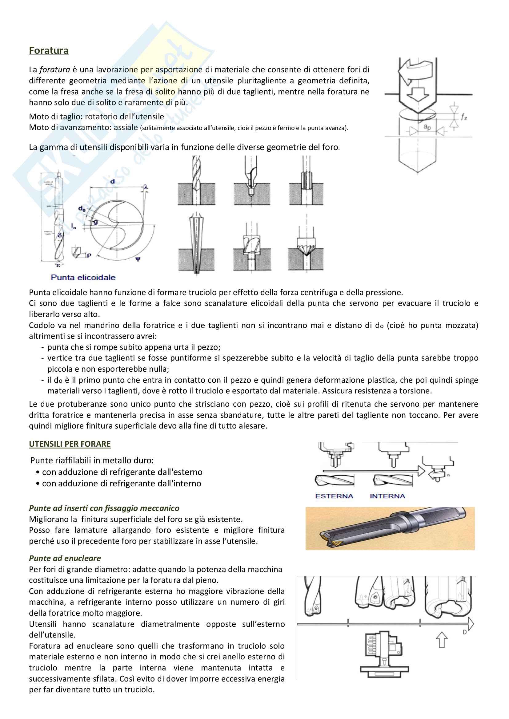 Lavorazioni per asportazione di truciolo, tornitura, fresatura, foratura: Appunti Tecnologie generali Pag. 16