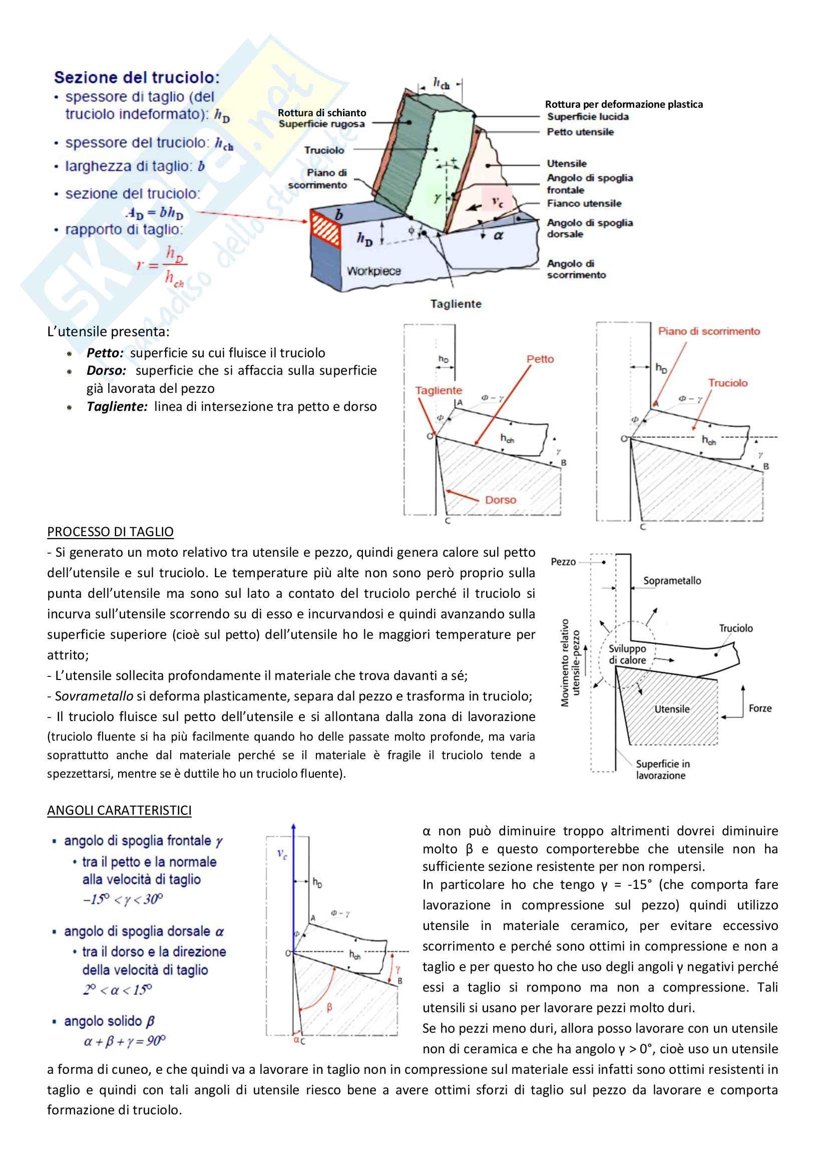 Lavorazioni per asportazione di truciolo, tornitura, fresatura, foratura: Appunti Tecnologie generali Pag. 2