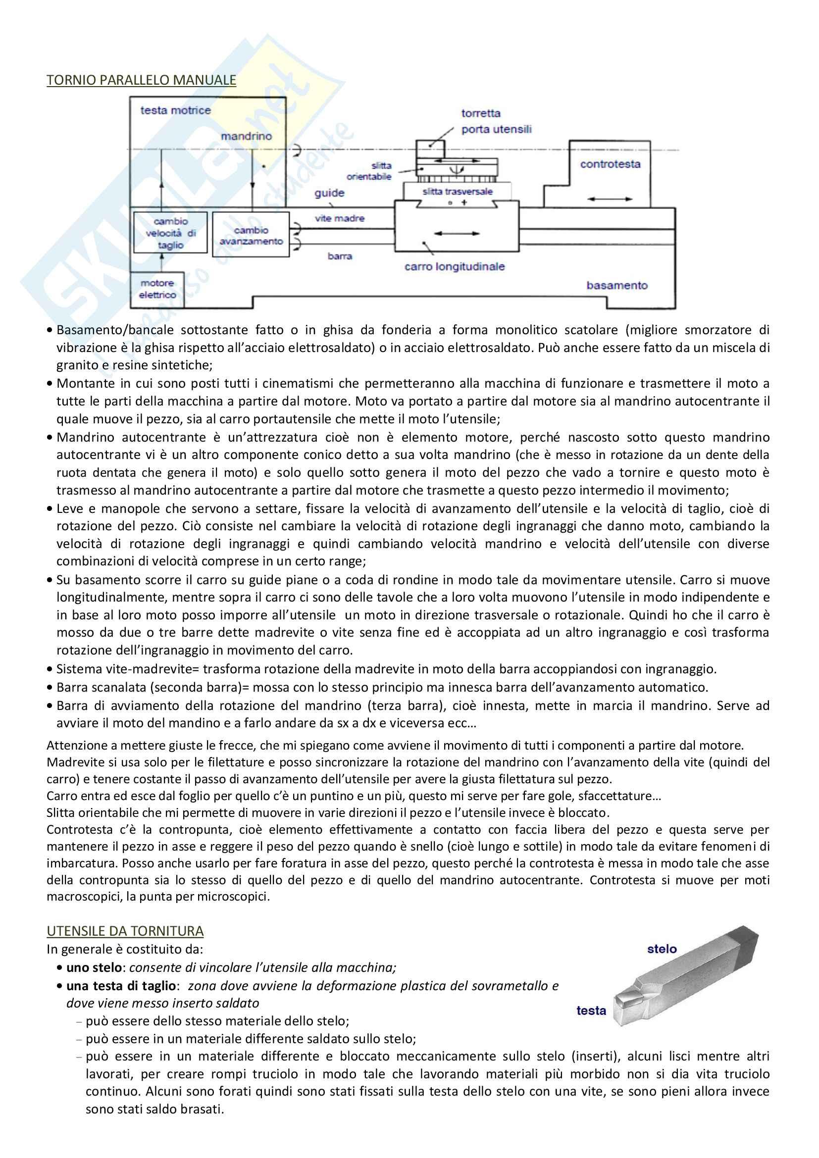 Lavorazioni per asportazione di truciolo, tornitura, fresatura, foratura: Appunti Tecnologie generali Pag. 6