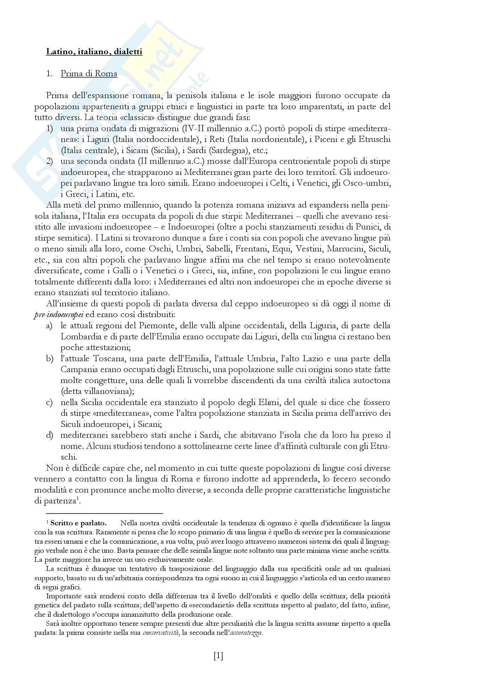 """Riassunto esame Dialettologia italiana, prof. Regis, libro consigliato """"Introduzione alla dialettologia italiana"""" di C. Grassi, A.A. Sobrero e T. Telmon"""