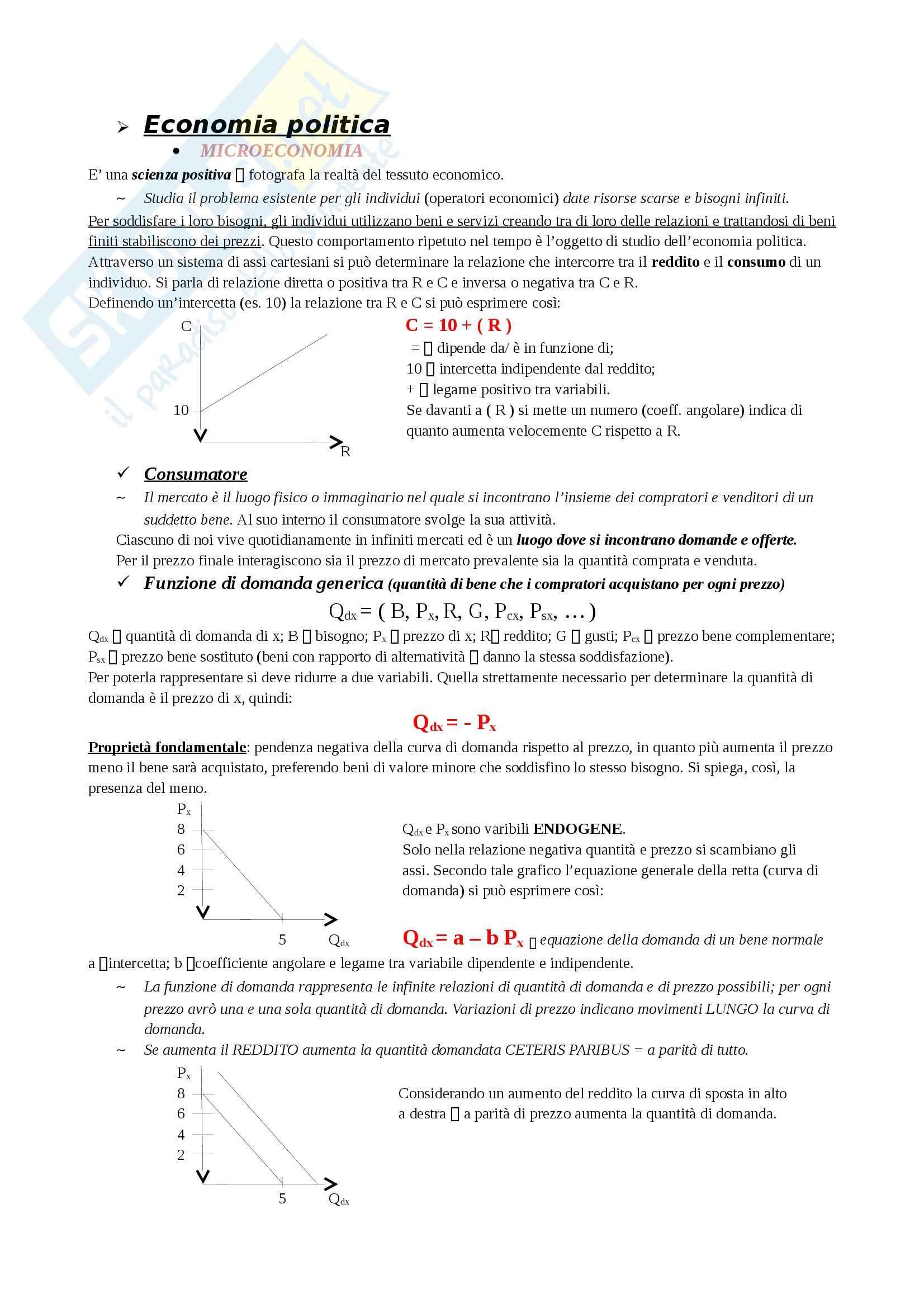 Economia politica - Microeconomia