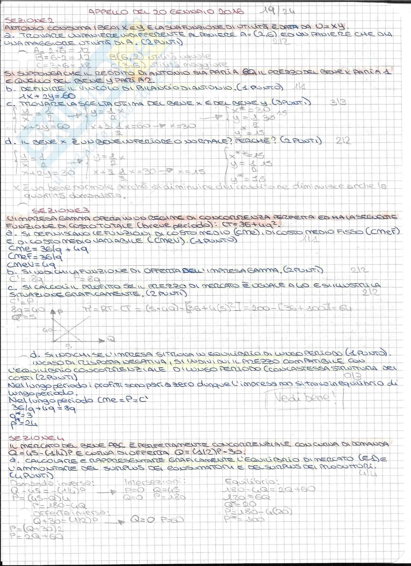 Microeconomia: prove d'esame