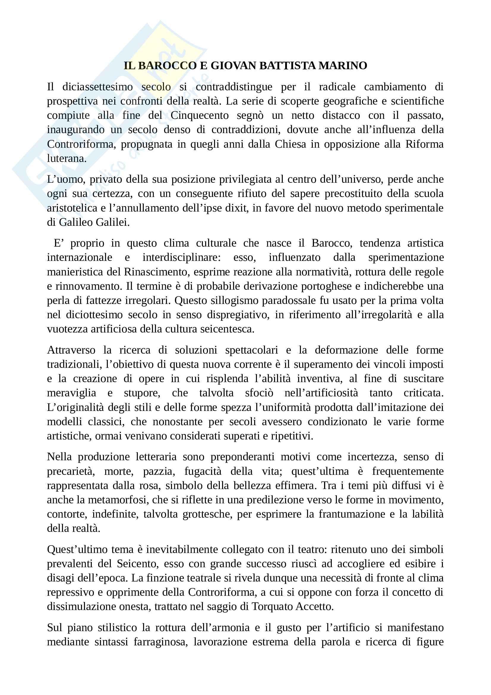 Barocco e Giovan Battista Marino - Letteratura italiana
