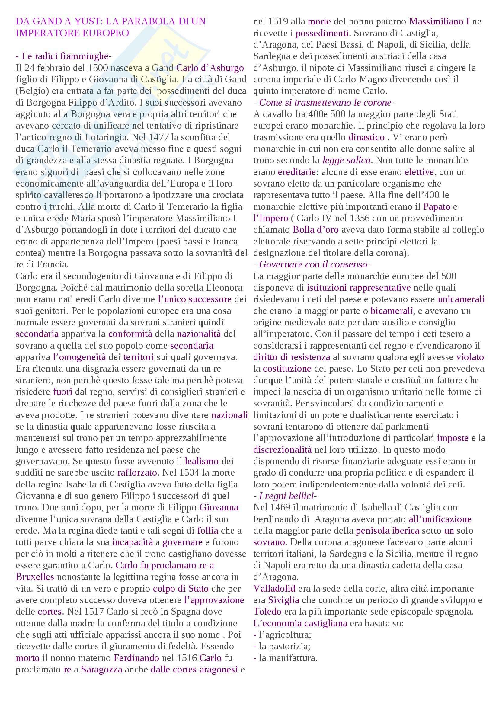 Riassunto esame Storia moderna, prof. Pellegrini, libro consigliato Il mondo moderno, Spagnoletti