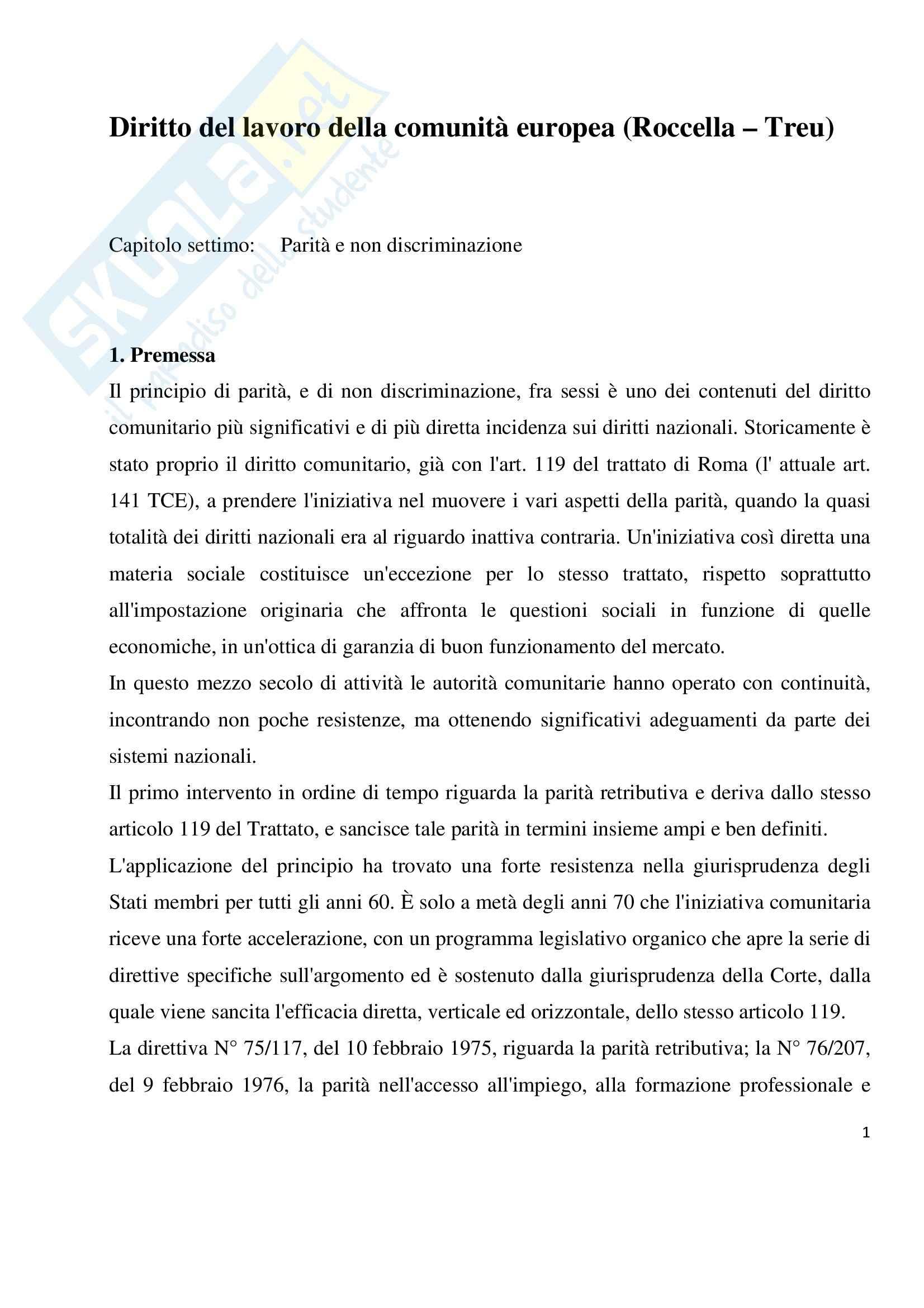 Diritto del lavoro della Comunità europea, Roccella, Treu - Appunti