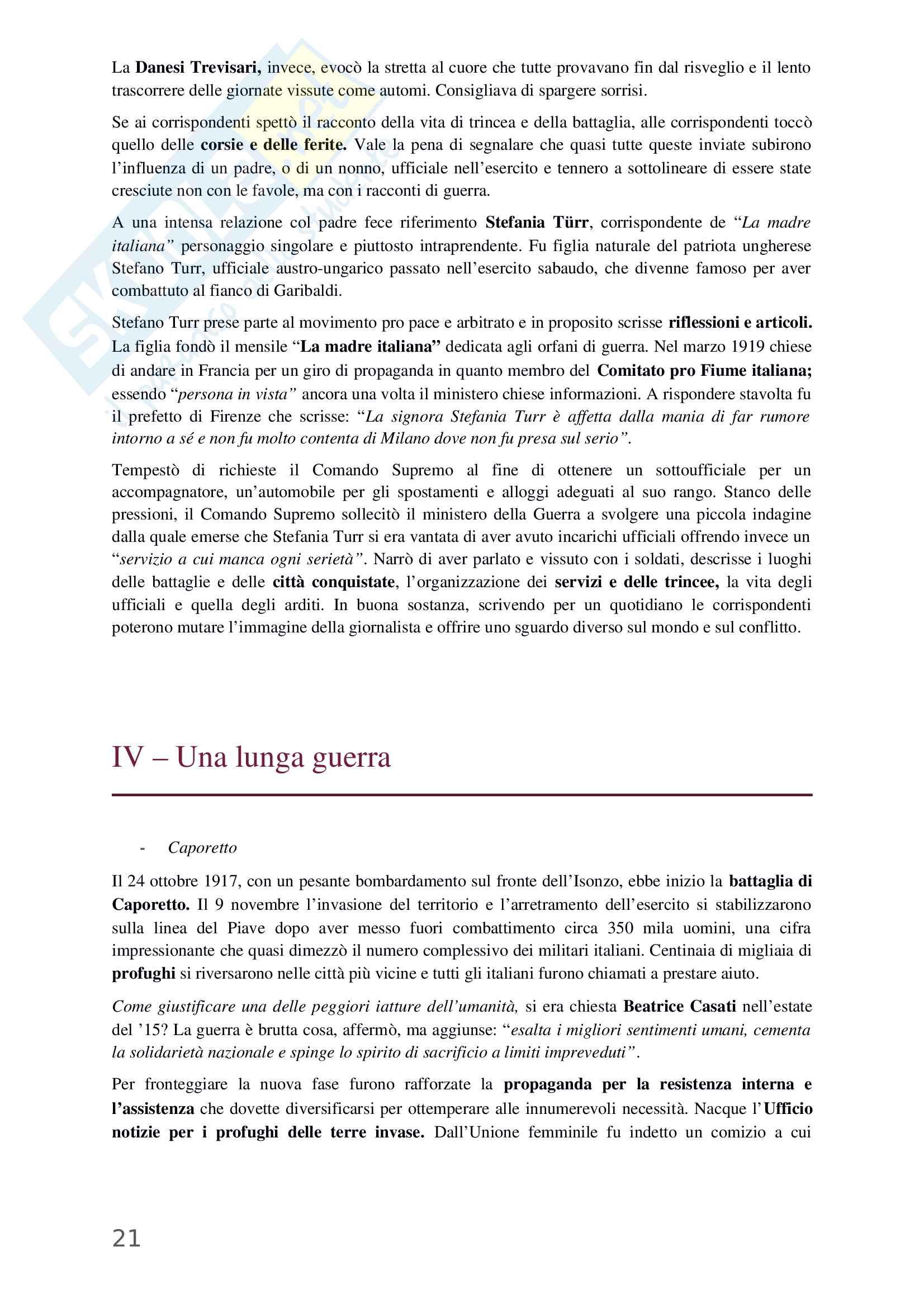 Riassunto esame Storia Contemporanea, prof. Stefania Bartoloni, libro Donne di fronte alla guerra, Bartoloni Pag. 21
