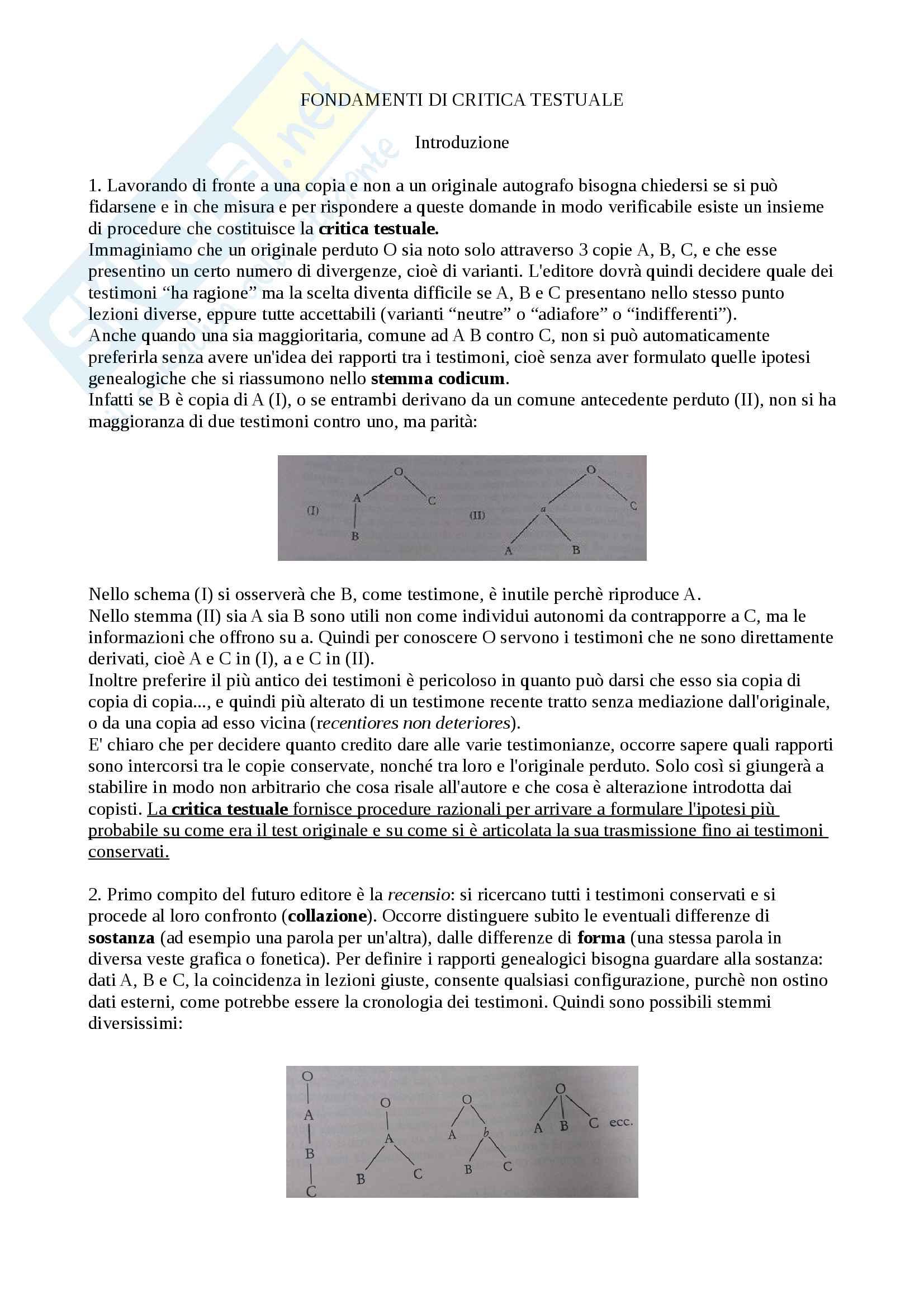 Riassunto esame Filologia Italiana, docente Lorenzi Cristiano, libro consigliato Fondamenti di Critica Testuale, Stussi