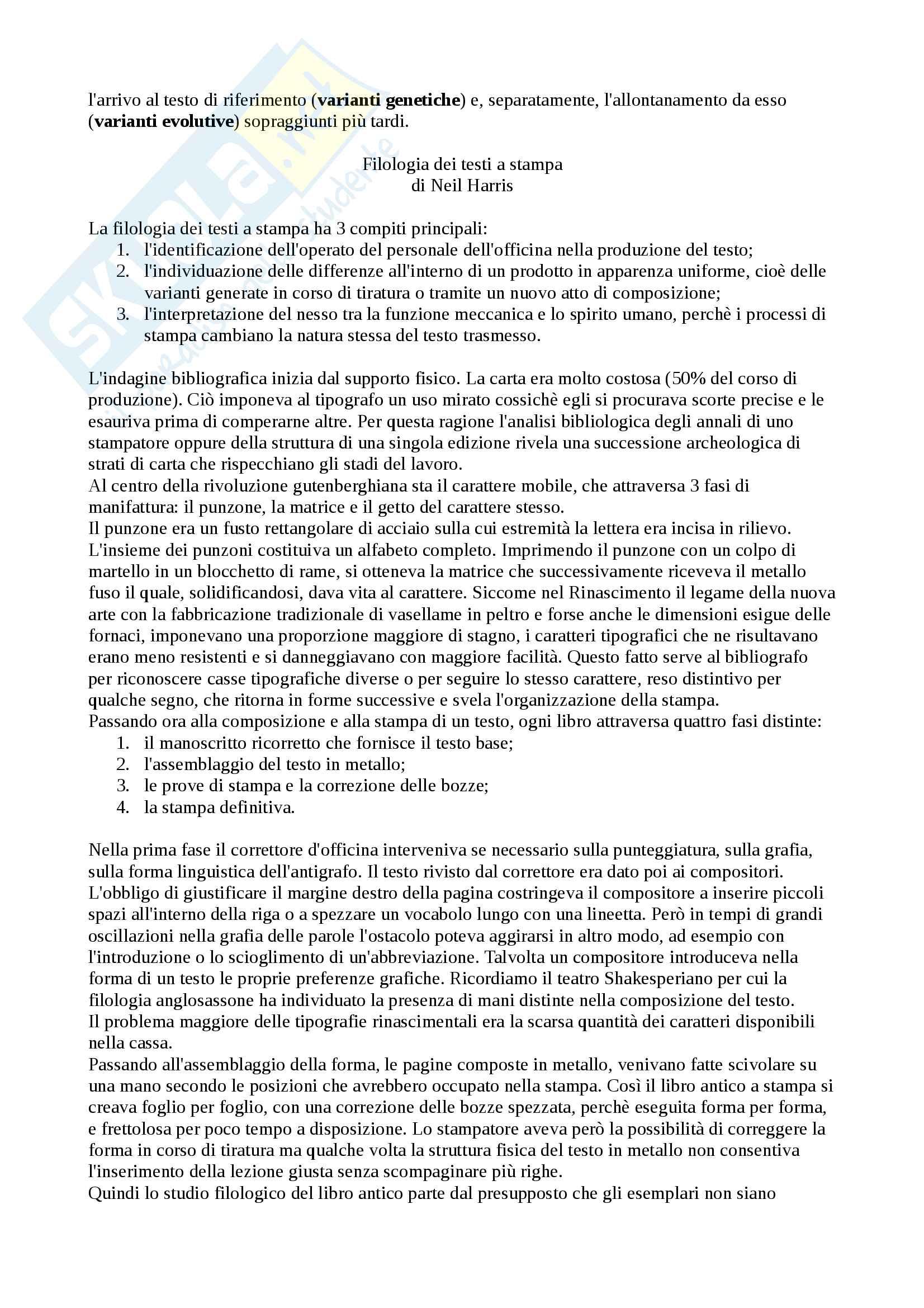 Riassunto esame Filologia Italiana, docente Lorenzi Cristiano, libro consigliato Fondamenti di Critica Testuale, Stussi Pag. 16