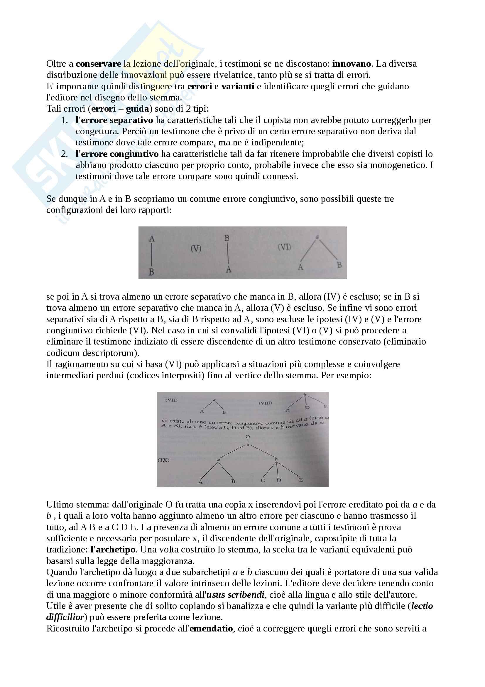 Riassunto esame Filologia Italiana, docente Lorenzi Cristiano, libro consigliato Fondamenti di Critica Testuale, Stussi Pag. 2
