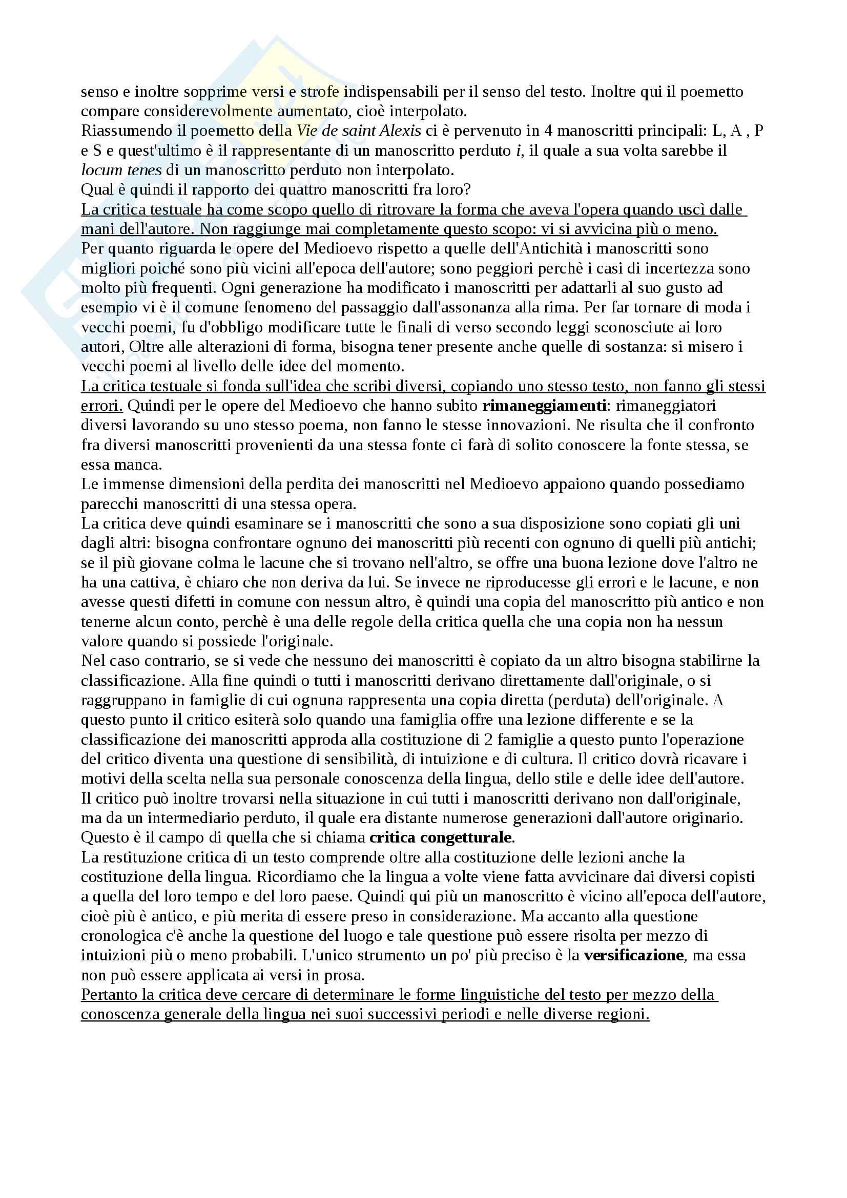 Riassunto esame Filologia Italiana, docente Lorenzi Cristiano, libro consigliato Fondamenti di Critica Testuale, Stussi Pag. 6