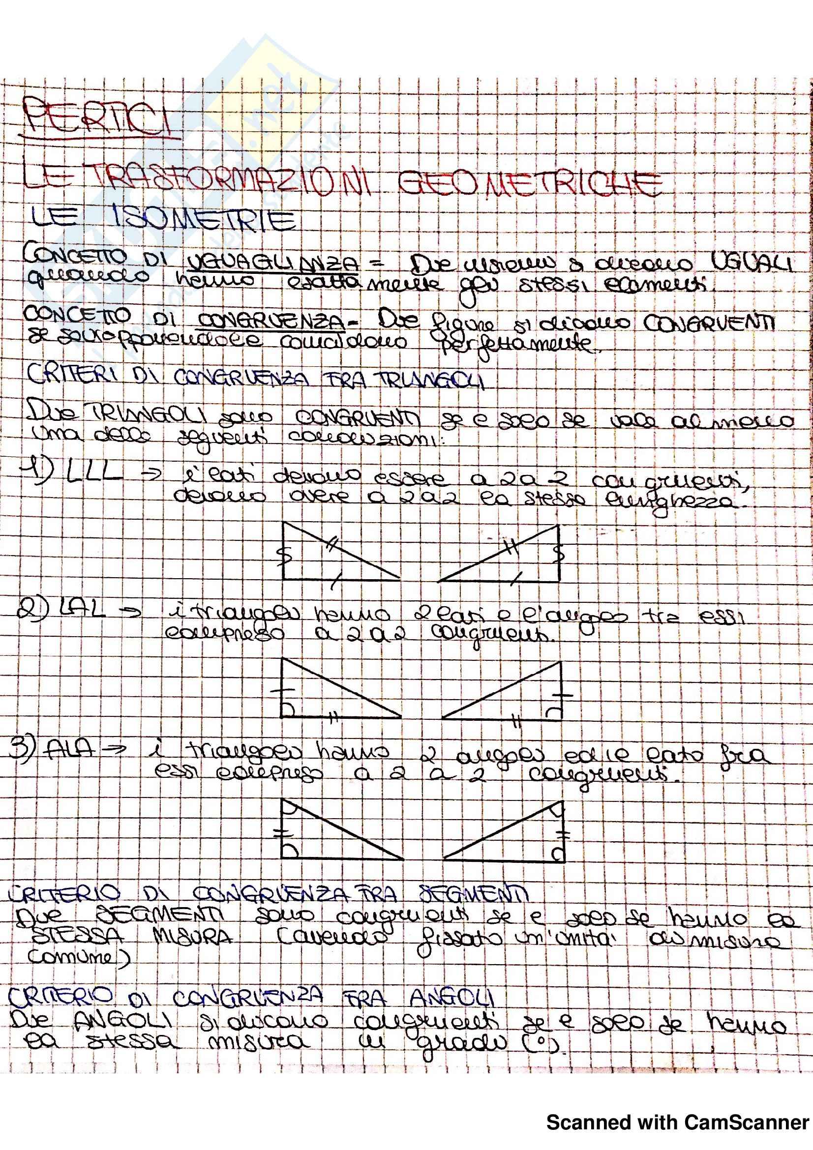Appunti ed Esercizi Matematica per la formazione di base (II): Trasformazioni geometriche (isometrie), Simmetrie delle figure piane