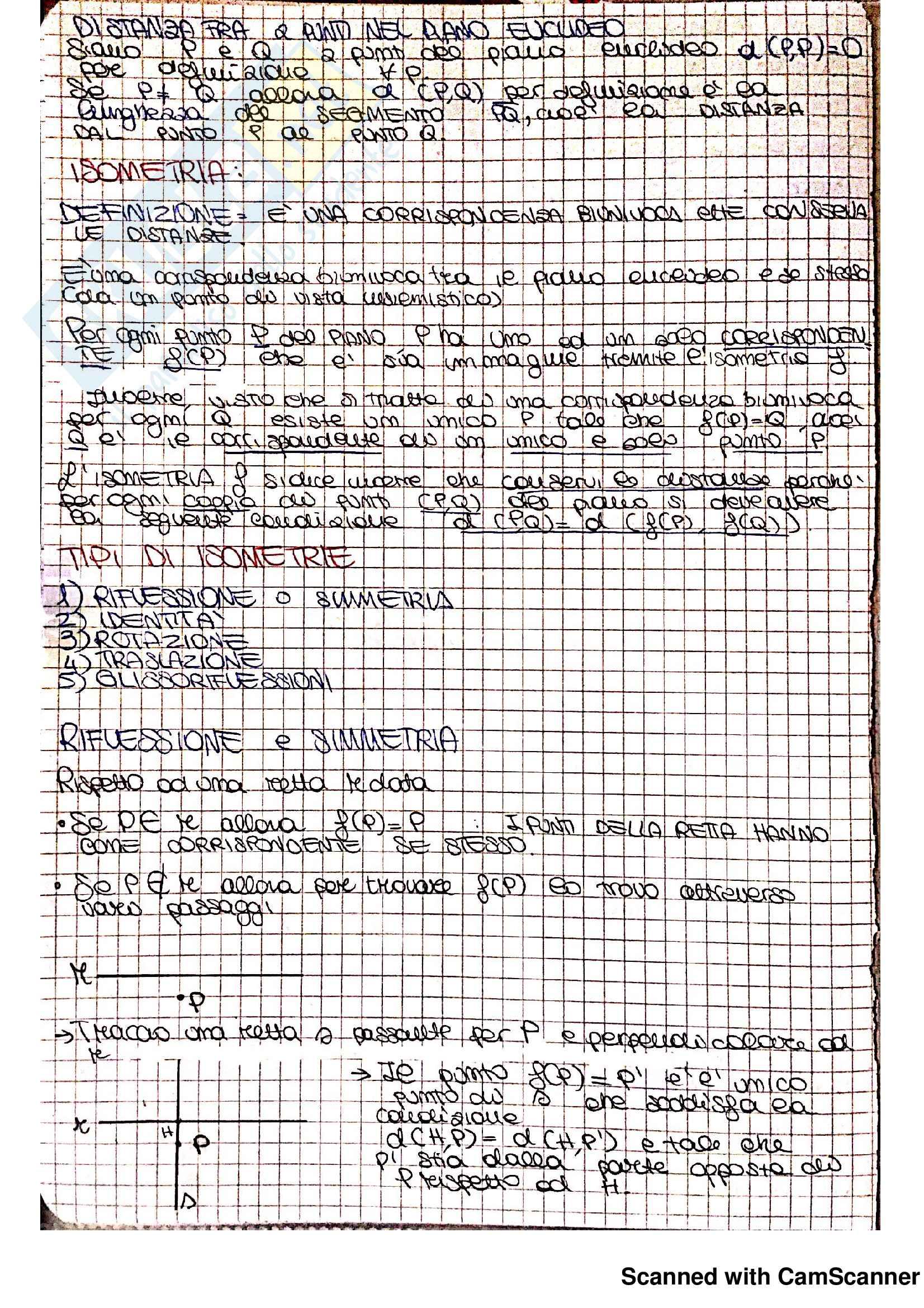 Appunti ed Esercizi Matematica per la formazione di base (II): Trasformazioni geometriche (isometrie), Simmetrie delle figure piane Pag. 2
