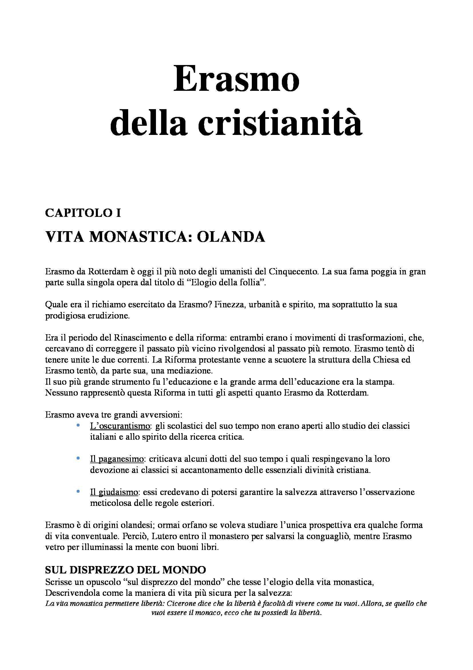 Riassunto esame Storia Moderna: Erasmo della cristianità, prof. Dall'Olio