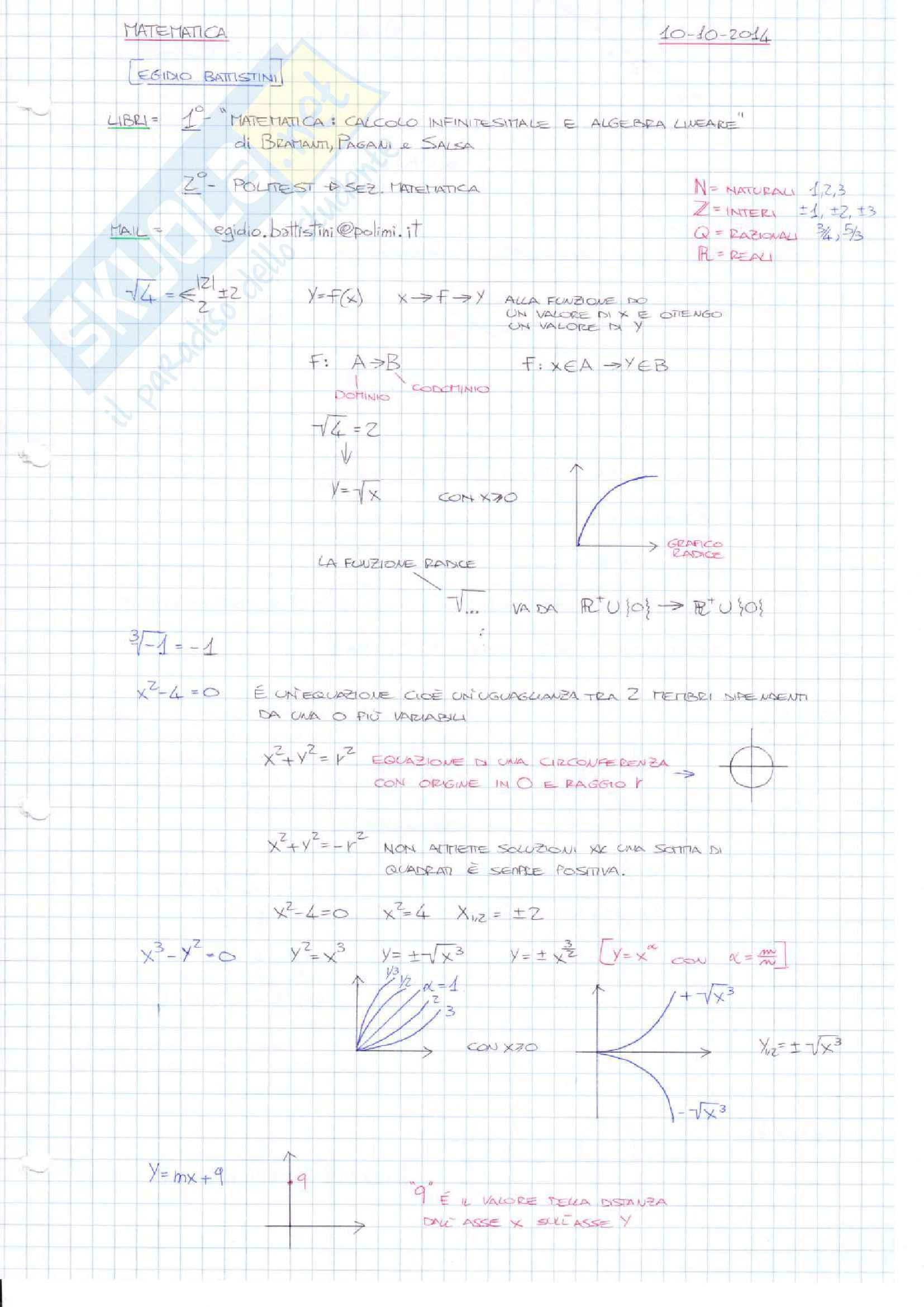 Appunti di Matematica (1° semestre)