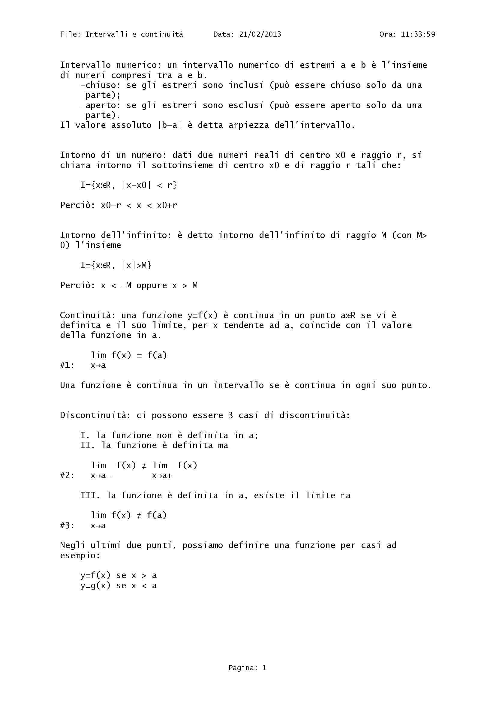 Matematica - Intervalli e continuità