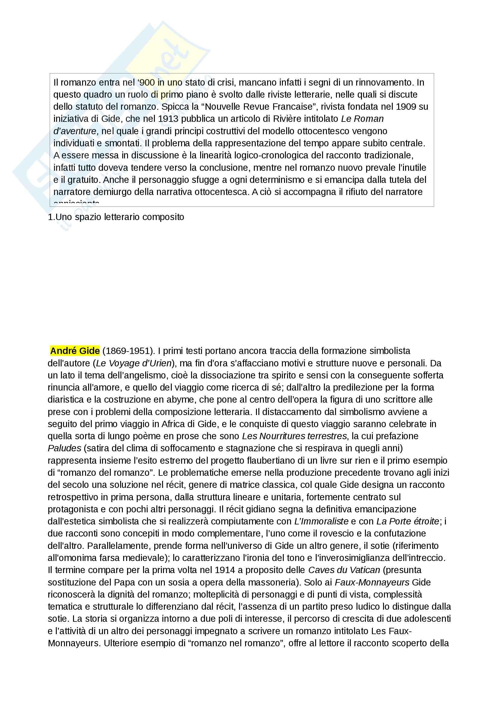 Riassunto esame Letteratura francese, prof. Bevilacqua, libro consigliato Il romanzo francese del 900, Teroni
