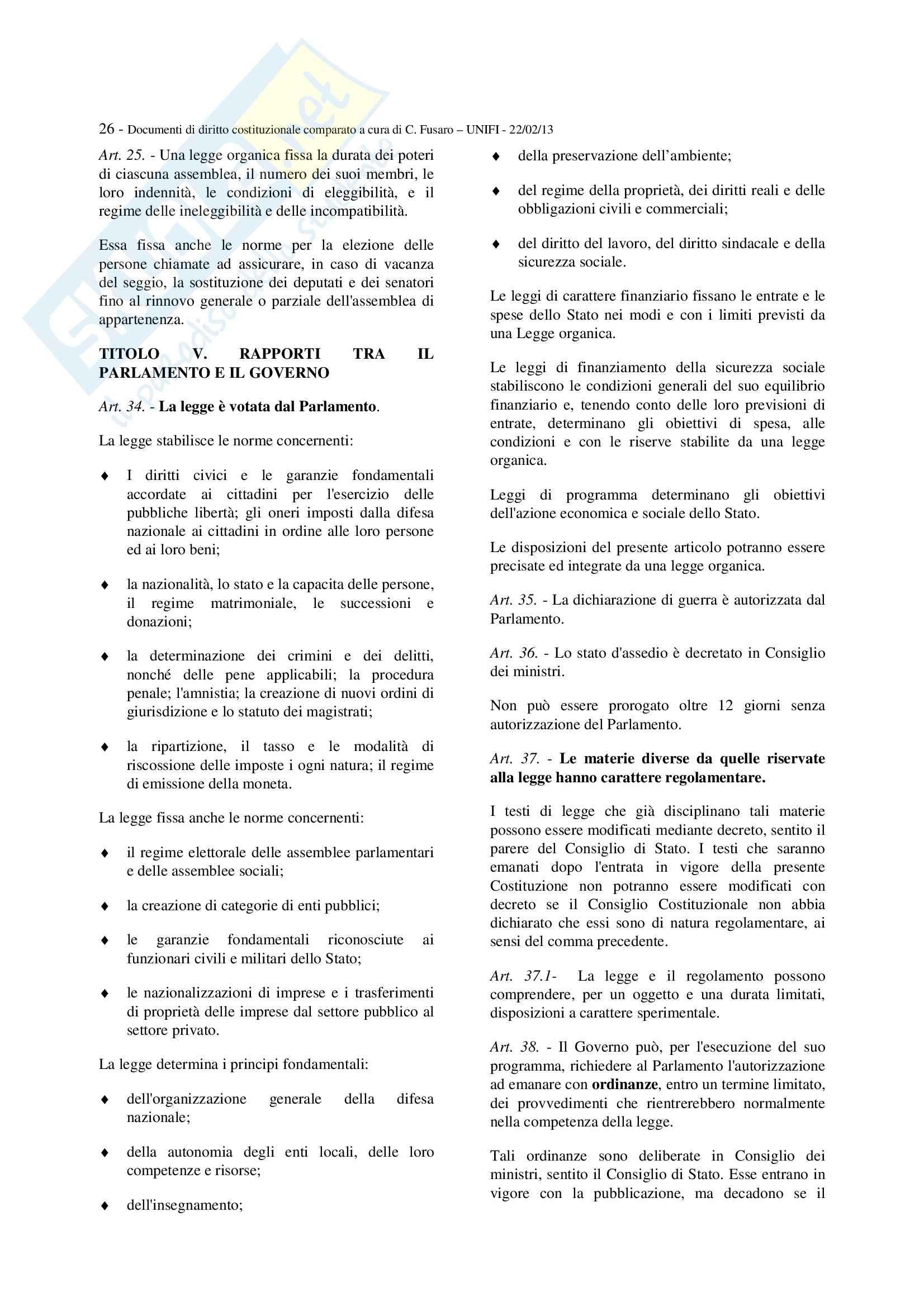 Diritto costituzionale italiano e comparato - gli estratti di testi costituzionali Pag. 26