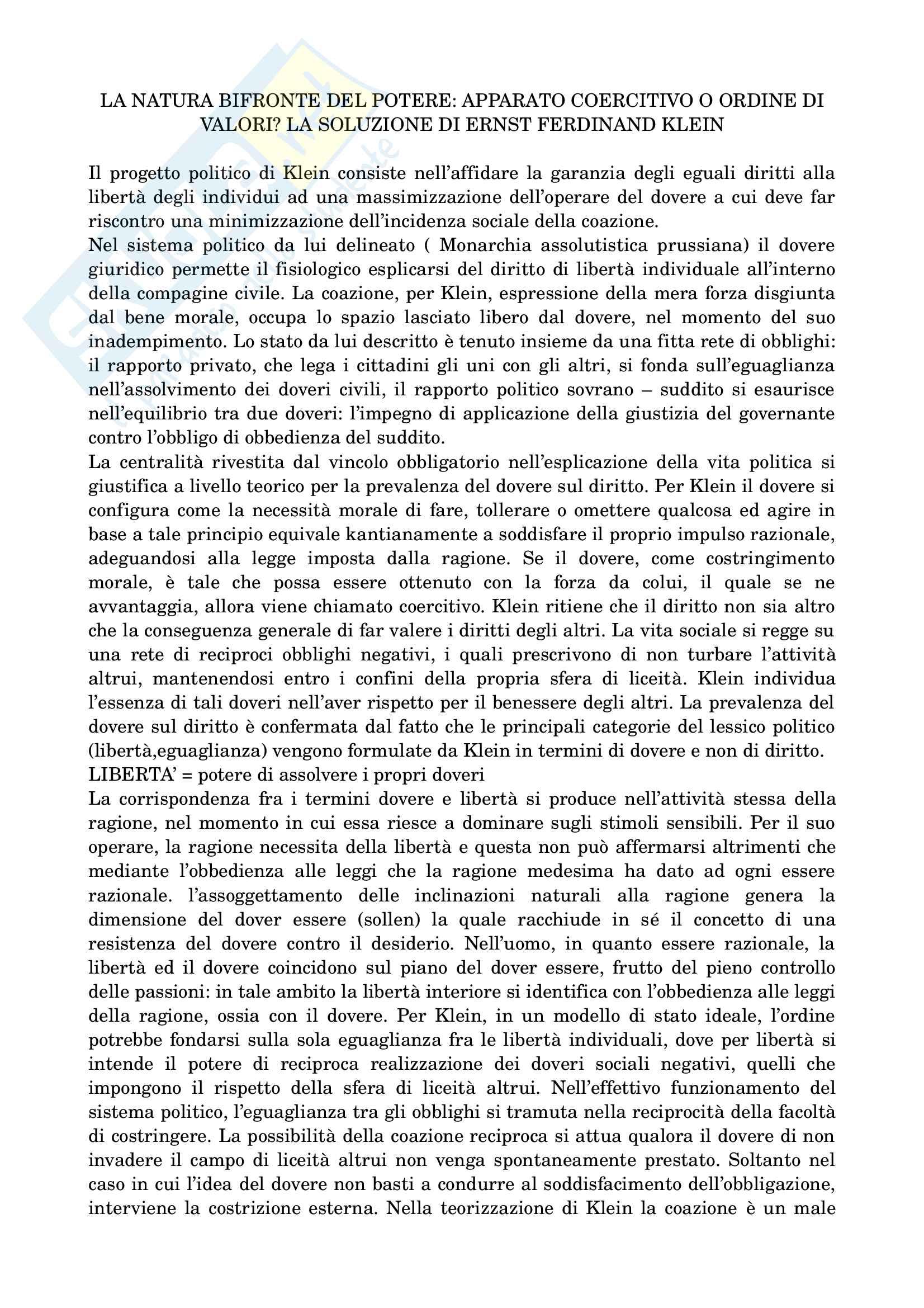 Riassunto esame di filosofia politica prof.ssa Vanda Fiorillo, libro consigliato ''Autolimitazione razionale e desiderio. Il dovere nei progetti di riorganizzazione politica dell'illuminismo tedesco''