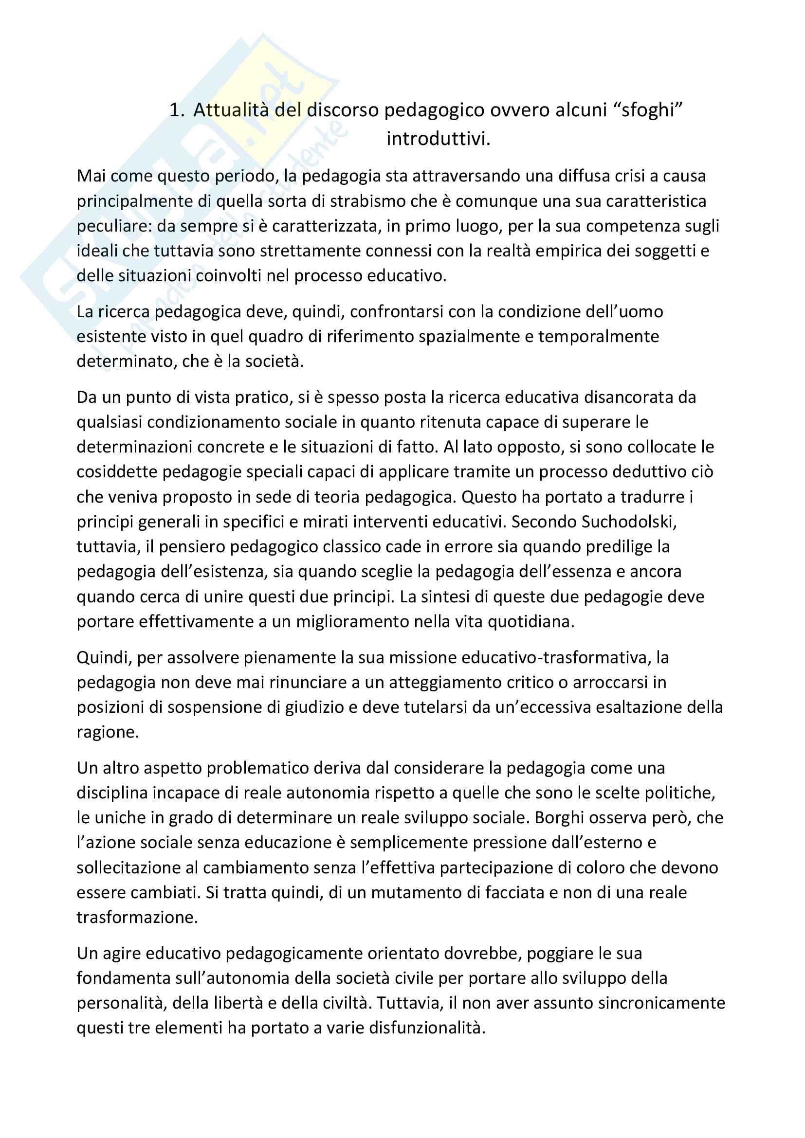 """Riassunto esame pedagogia generale, prof. A.Michelin, libro consigliato """"Snodi e riflessioni di pedagogia"""", Autore """"Michelin-Salomon"""""""