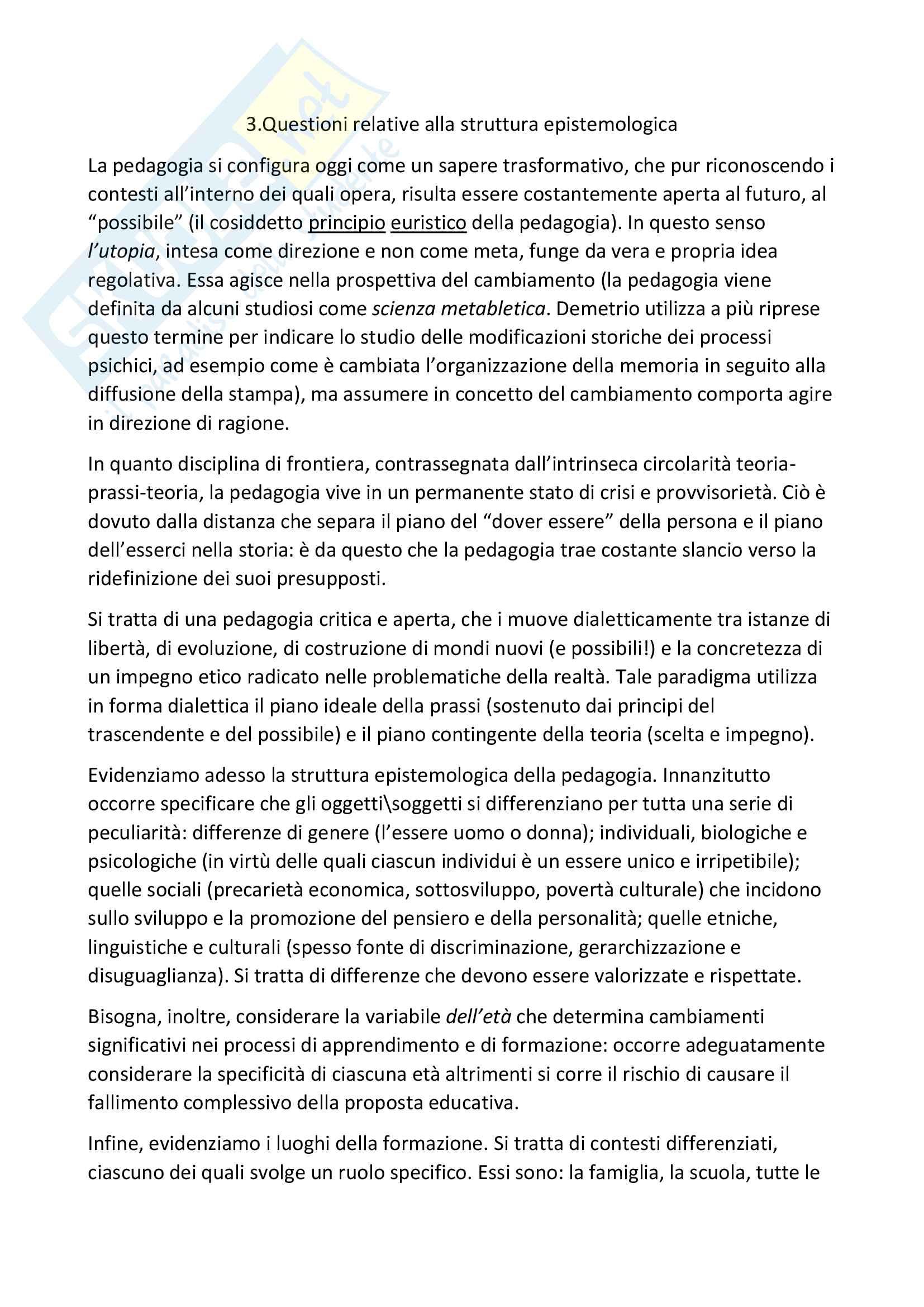 """Riassunto esame pedagogia generale, prof. A.Michelin, libro consigliato """"Snodi e riflessioni di pedagogia"""", Autore """"Michelin-Salomon"""" Pag. 6"""