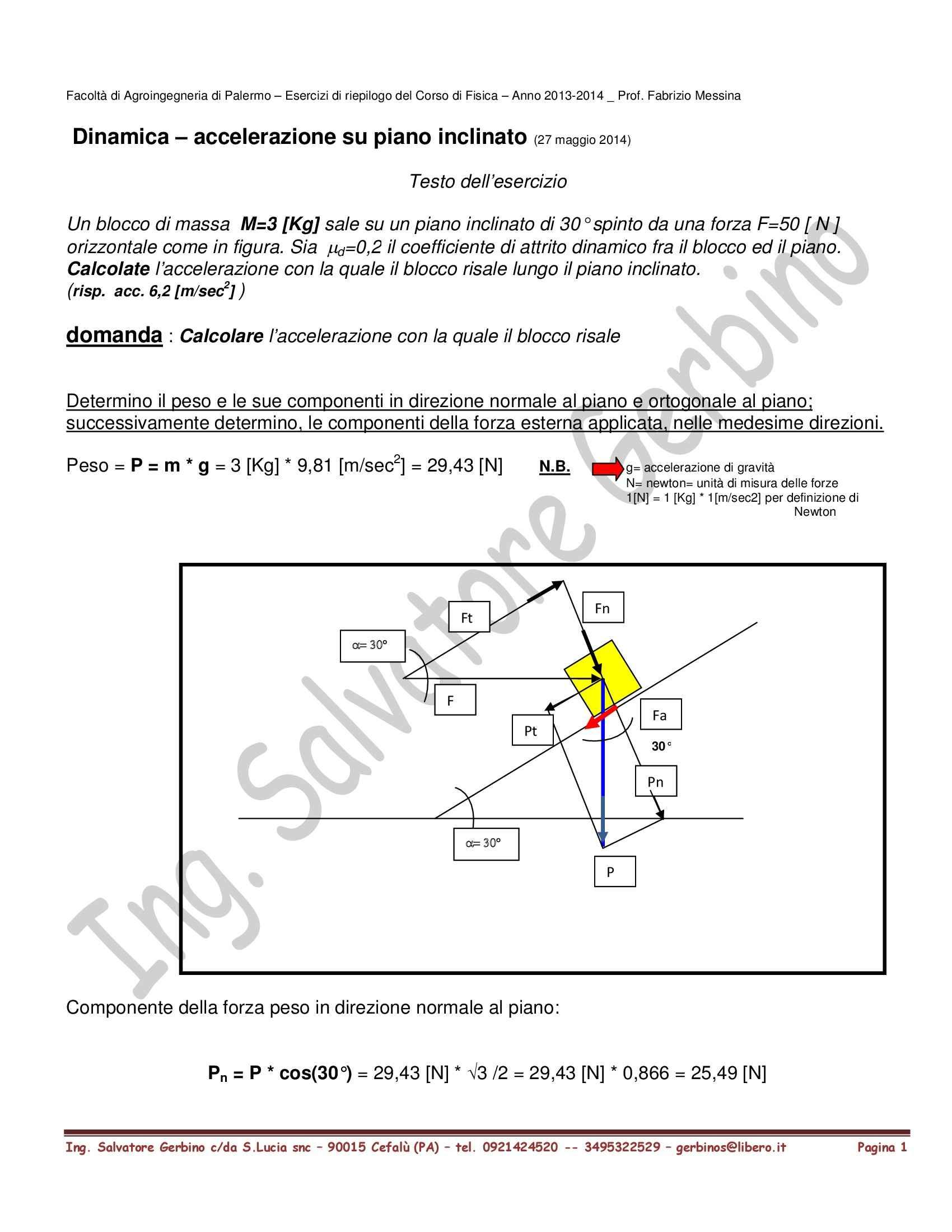 esercizio di dinamica - accelerazione su piano inclinato