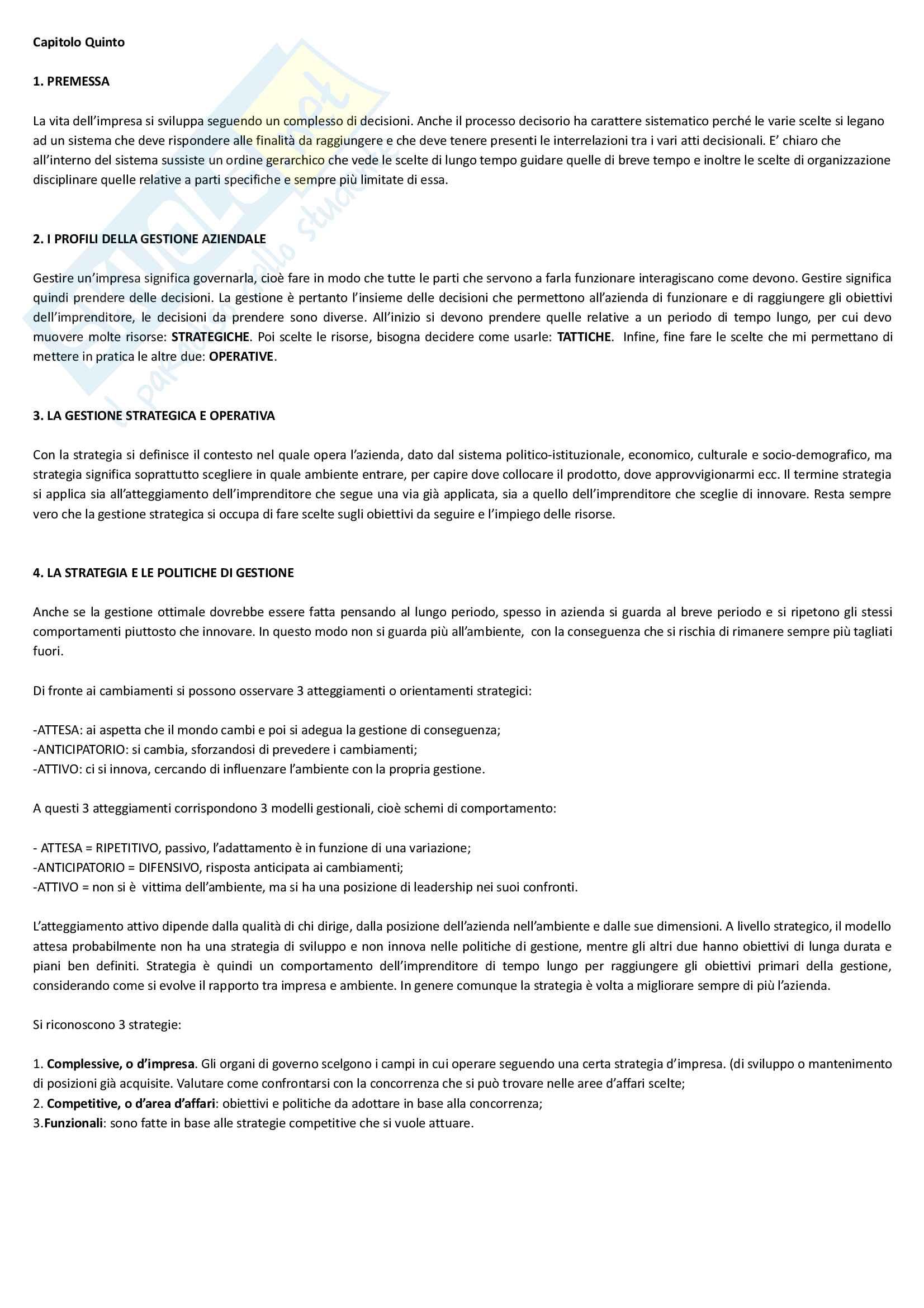 """Riassunto esame economia e gestione delle imprese, docente M. Colurcio, libro consigliato """"La gestione dell'impresa"""", Sciarelli Pag. 11"""
