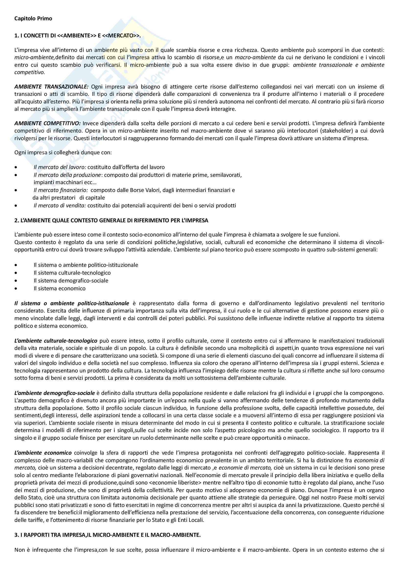"""Riassunto esame economia e gestione delle imprese, docente M. Colurcio, libro consigliato """"La gestione dell'impresa"""", Sciarelli Pag. 2"""