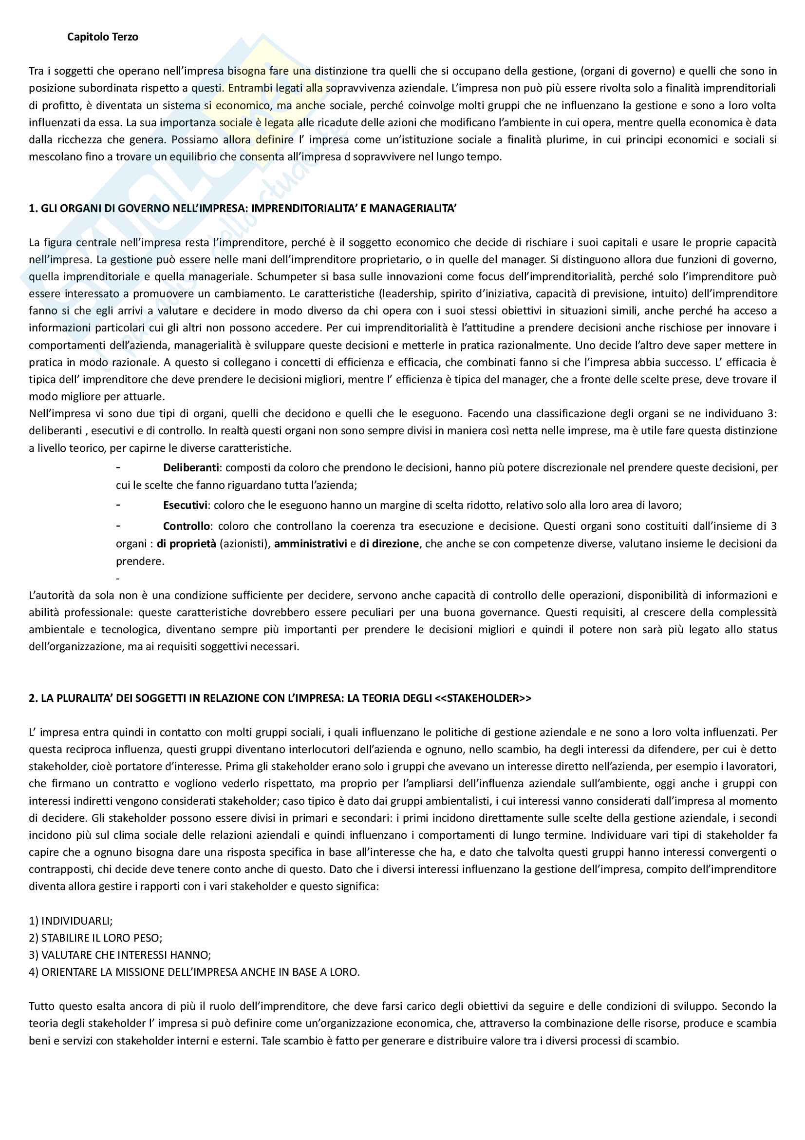 """Riassunto esame economia e gestione delle imprese, docente M. Colurcio, libro consigliato """"La gestione dell'impresa"""", Sciarelli Pag. 6"""