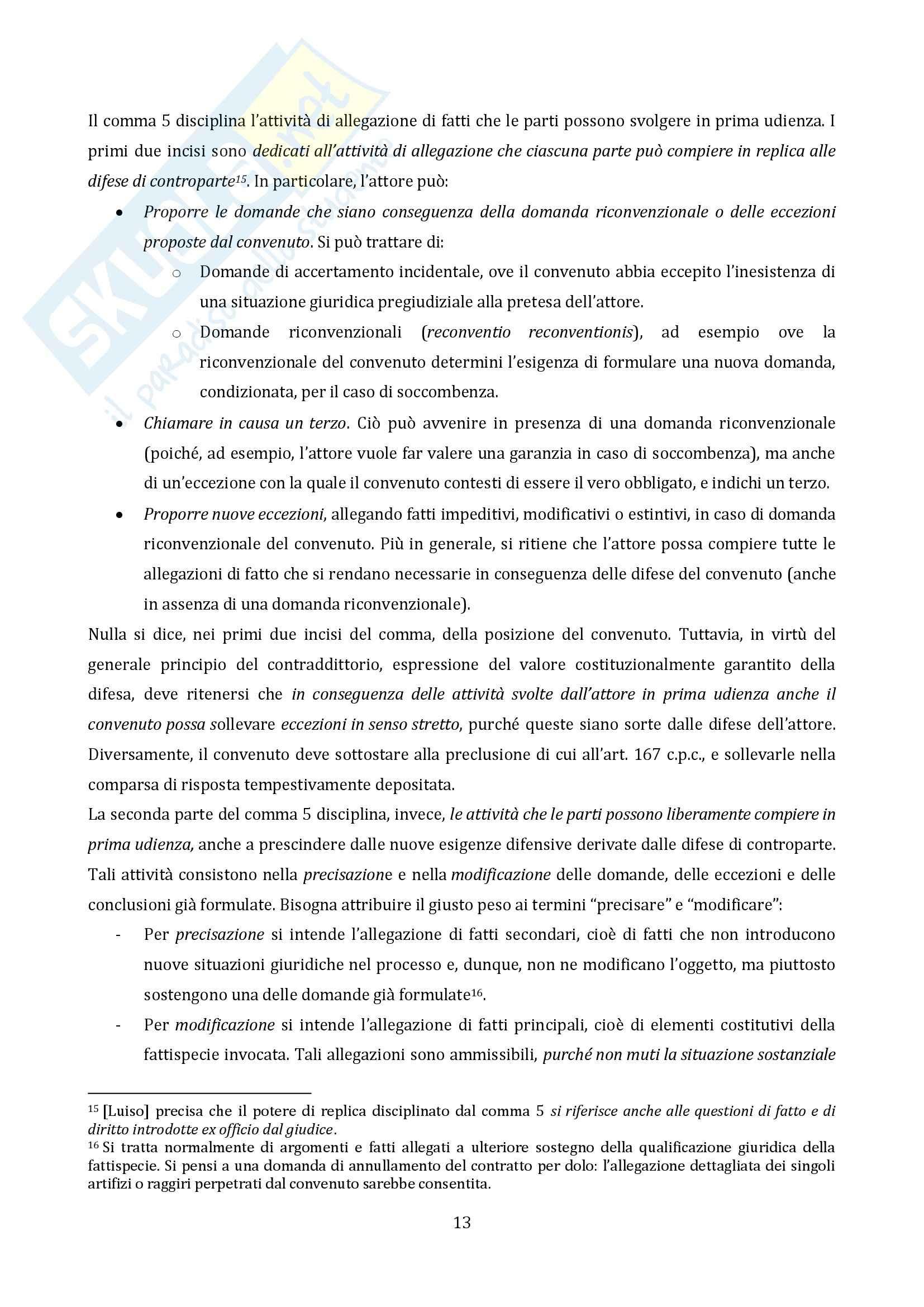 Riassunto esame Diritto Processuale Civile, Il Processo di Cognizione, prof. Vaccarella Pag. 11