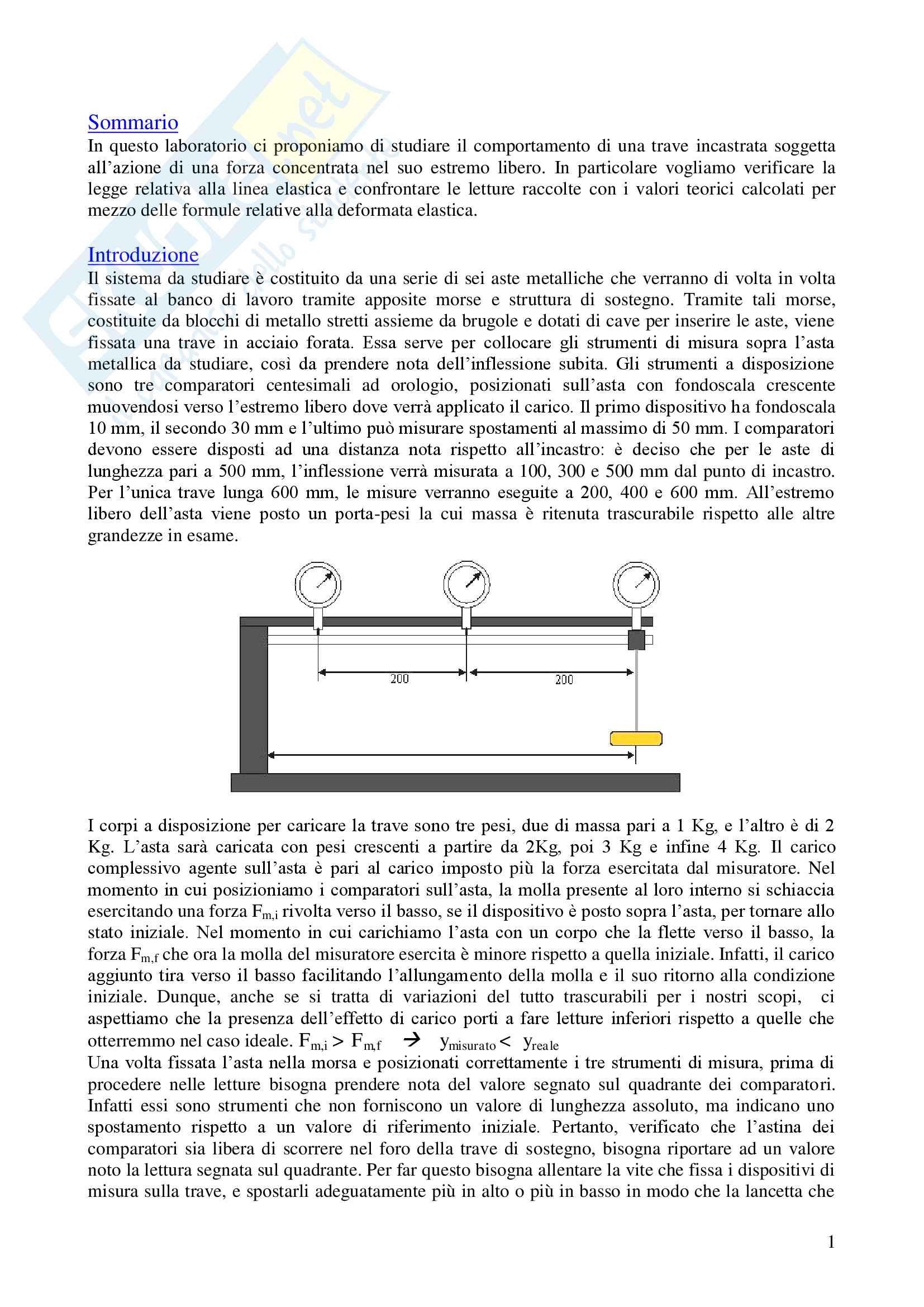 Studio della linea elastica di una trave sottoposta a un carico crescente Pag. 2