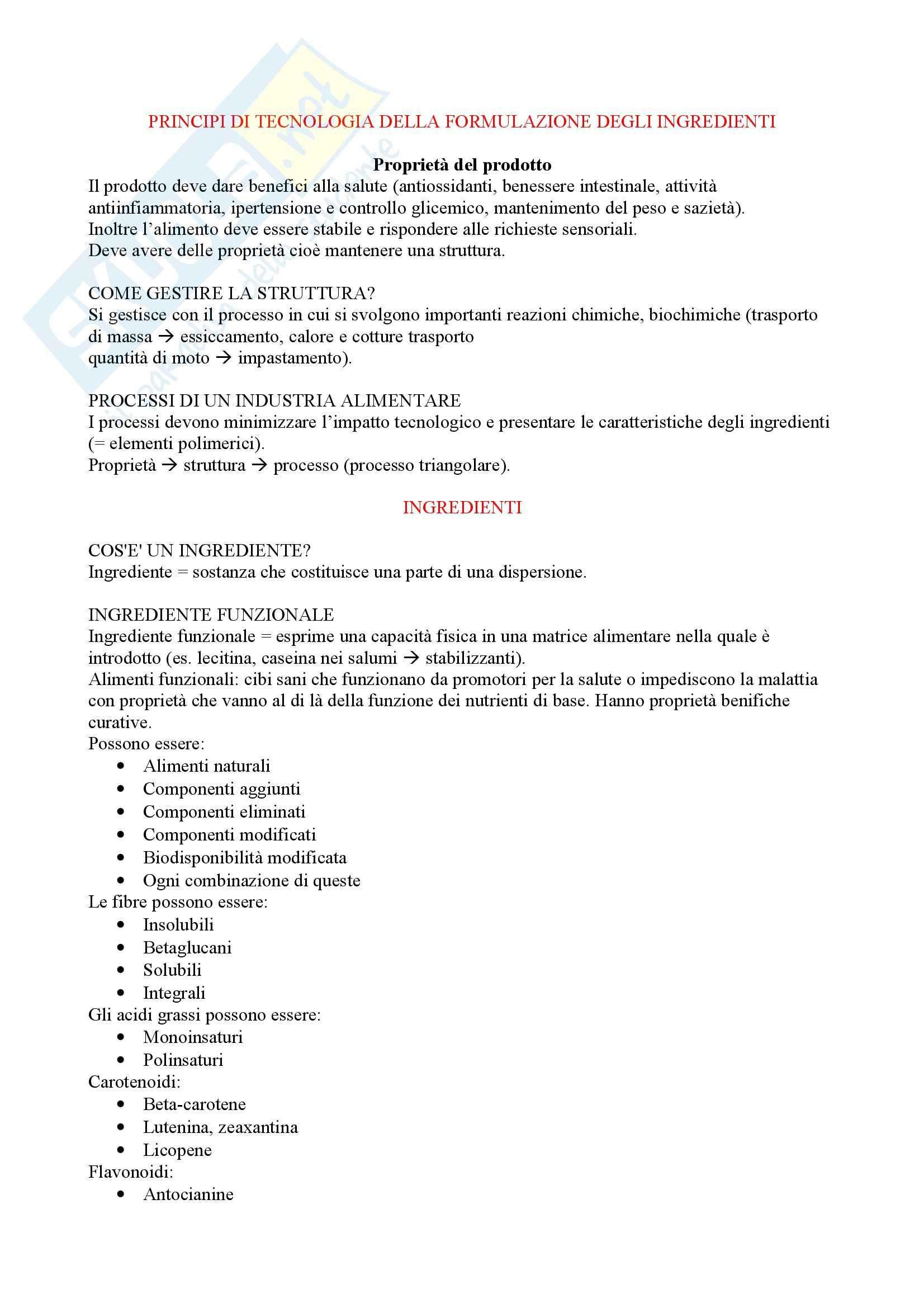 Tecnologia della formulazione dei prodotti alimentari - Appunti