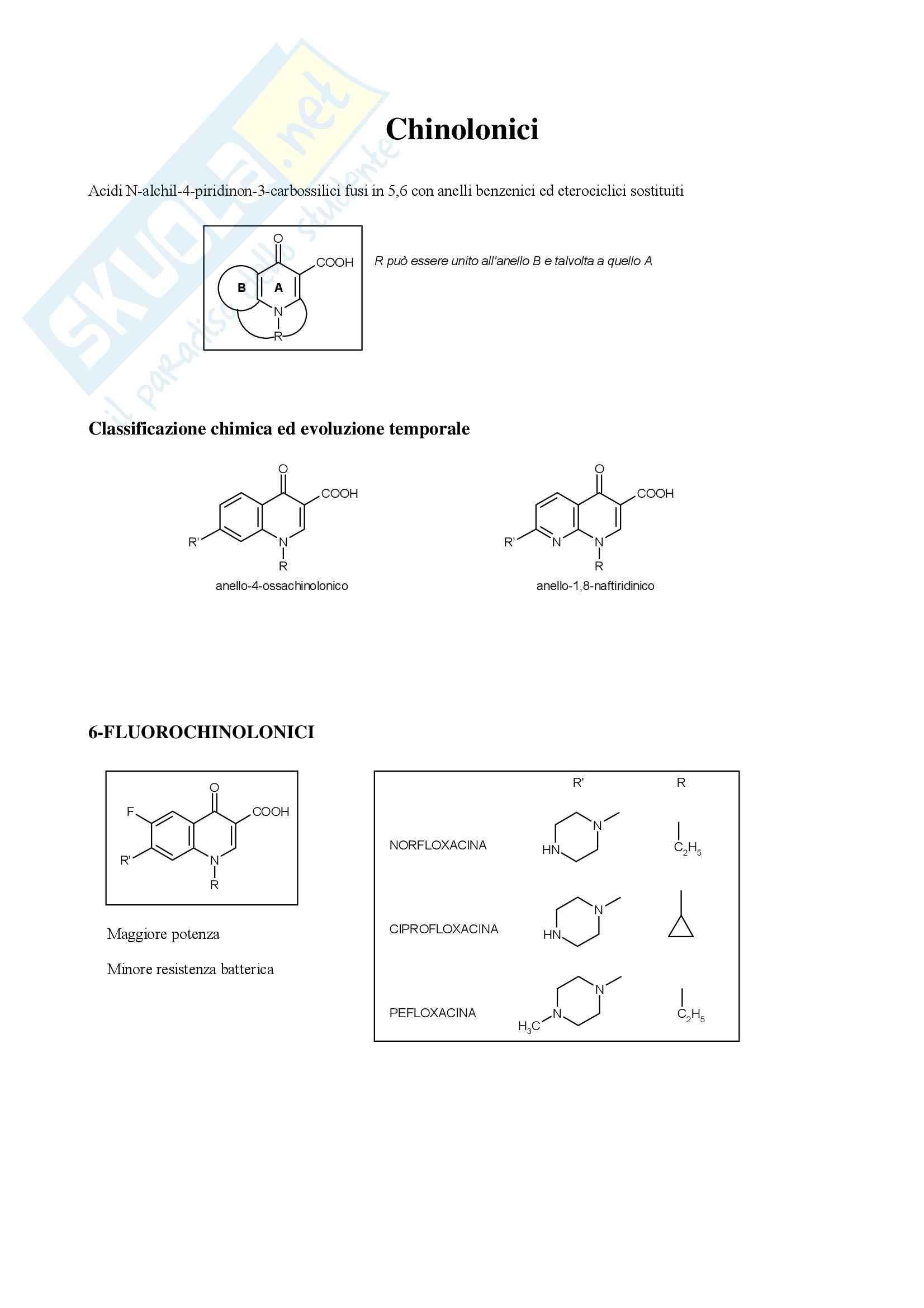 Chimica farmaceutica e tossicologica - chinolonici