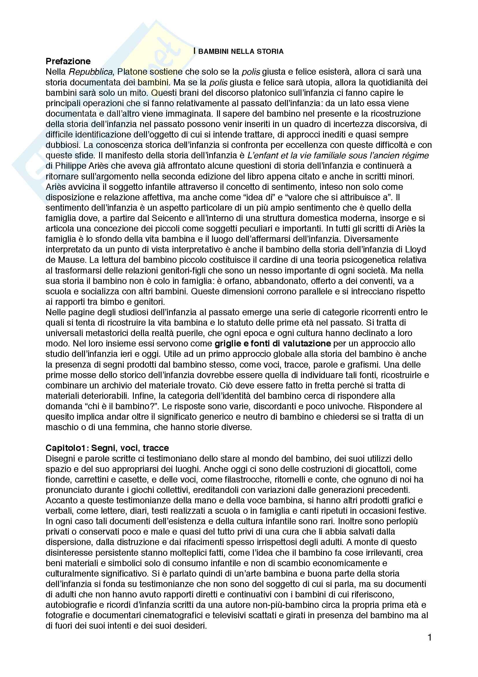 Riassunto esame Pedagogia dell'infanzia, prof.ssa Simonetta Ulivieri, libro consigliato I bambini nella storia, Egle Becchi
