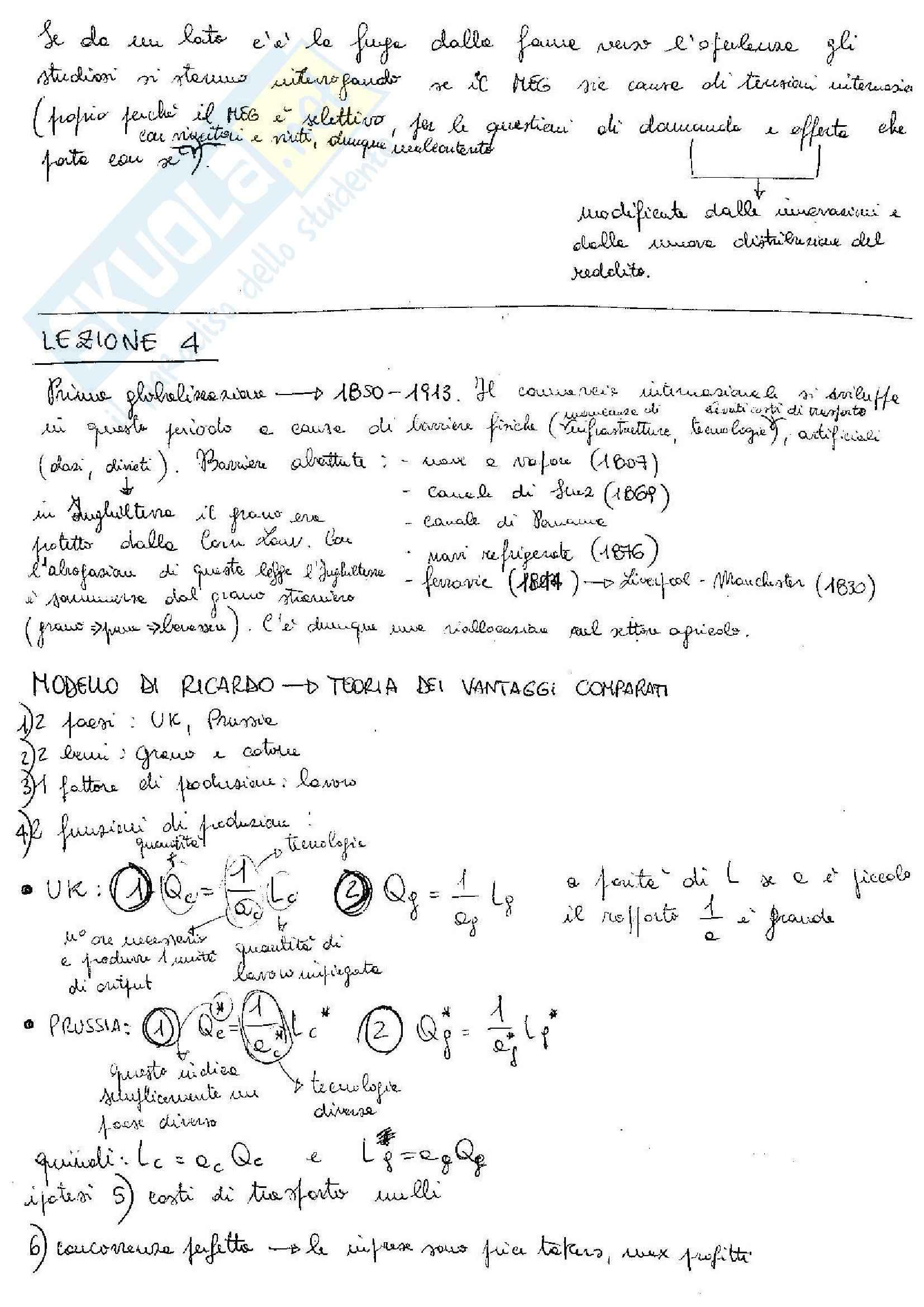 Ricardo - Teoria dei vantaggi comparati