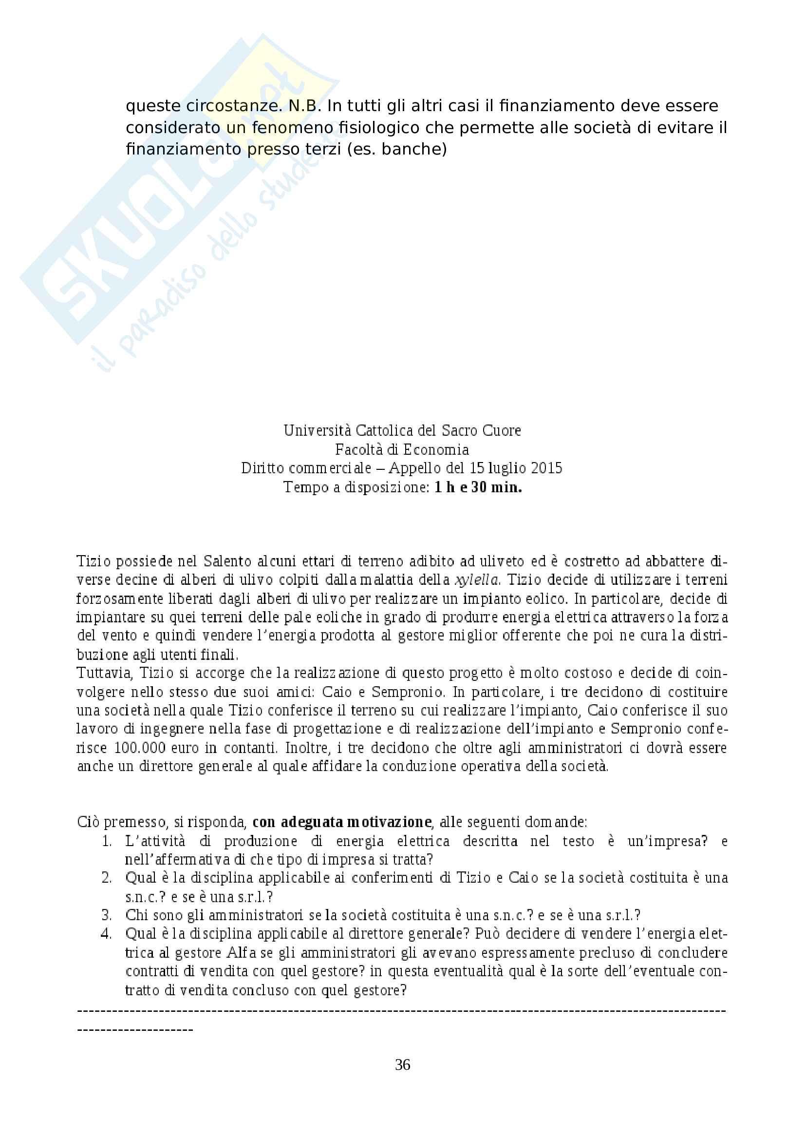 Soluzione temi d'esame di Diritto Commerciale (Unicatt: Cetra, Vanoni, Munari, Regoli) Pag. 36