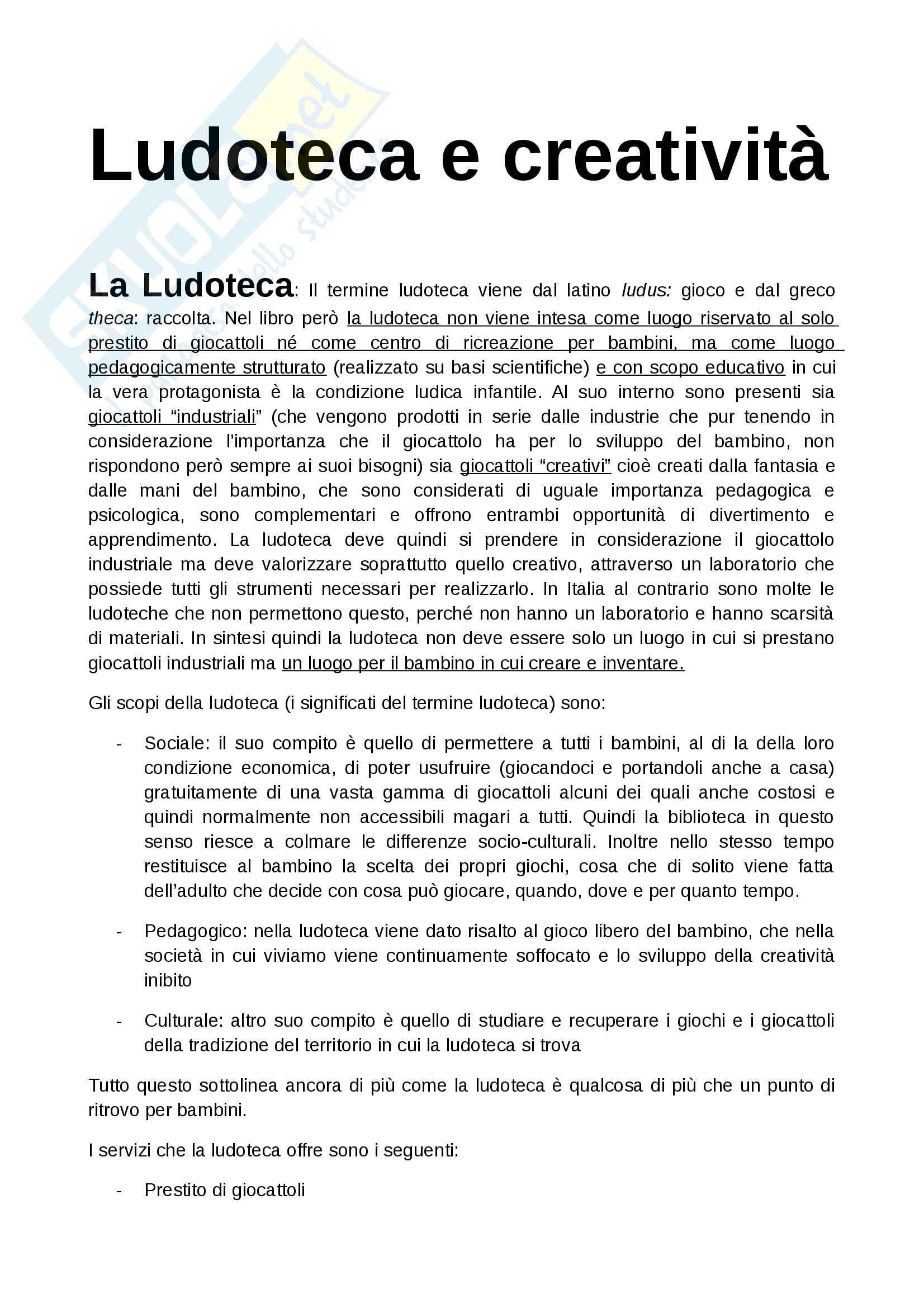 Riassunto esame Ludoteconomia, prof. De Angelis, libro consigliato Ludoteca e creatività, De Angelis