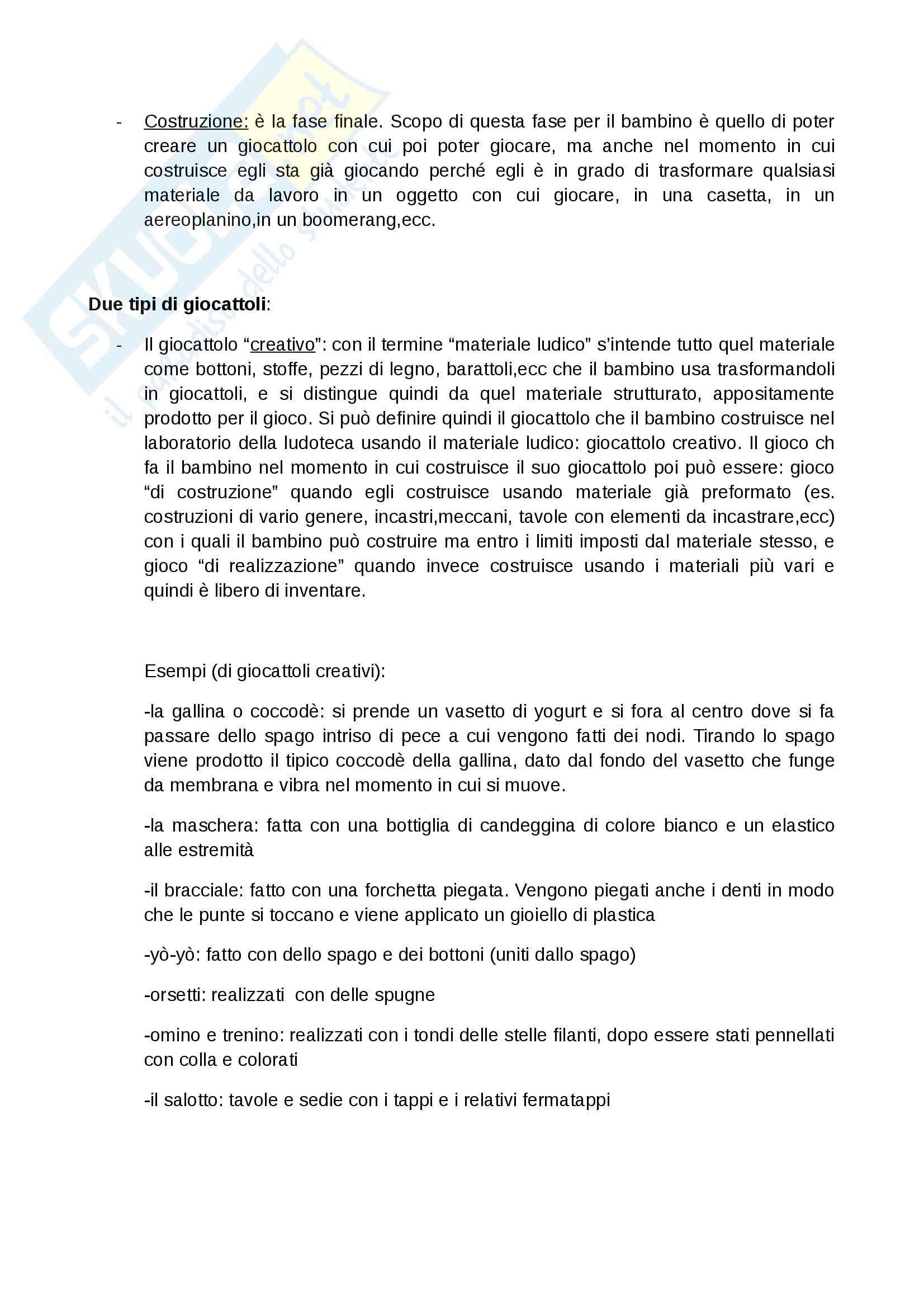 Riassunto esame Ludoteconomia, prof. De Angelis, libro consigliato Ludoteca e creatività, De Angelis Pag. 26