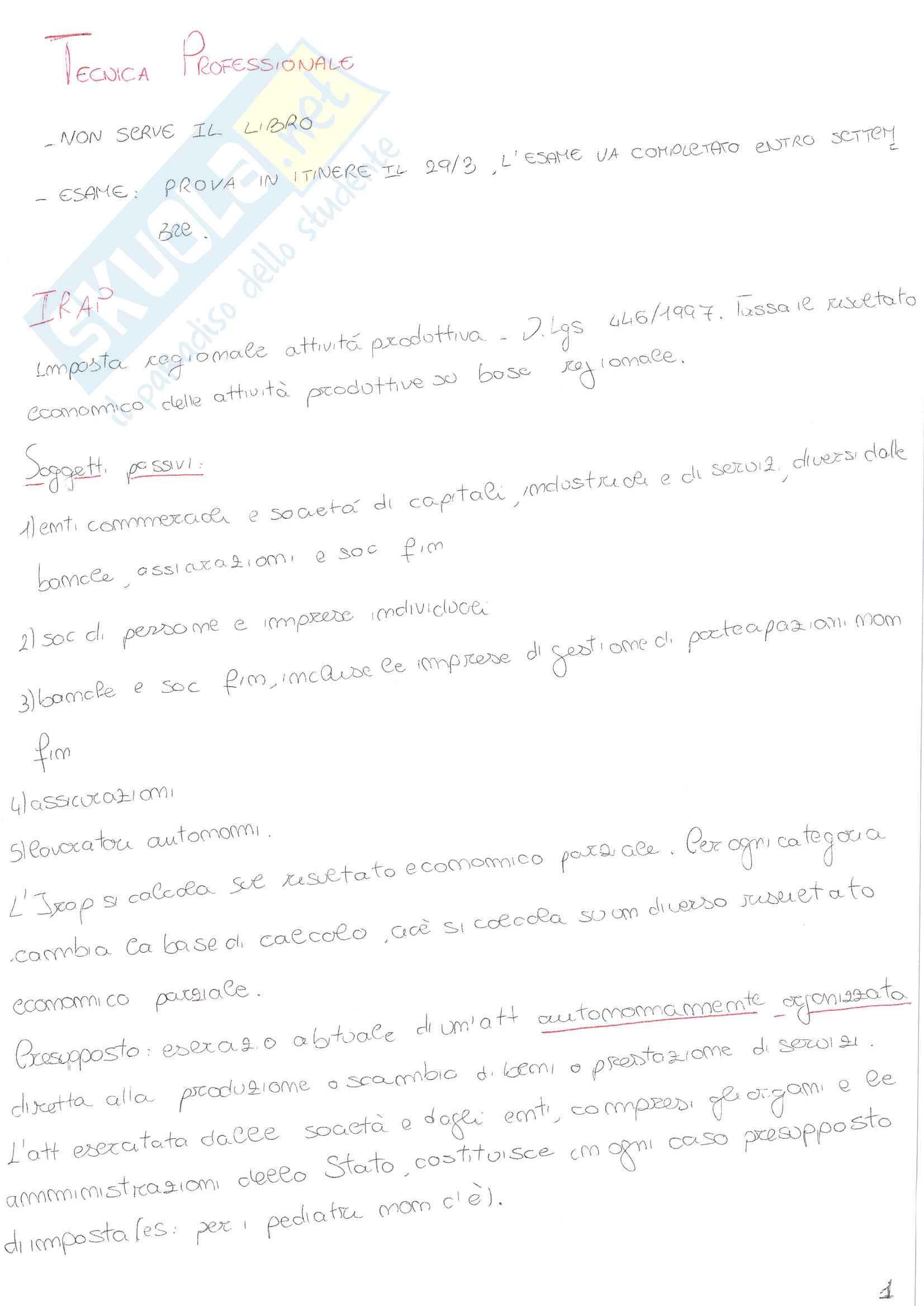 Appunti del corso tecnica professionale