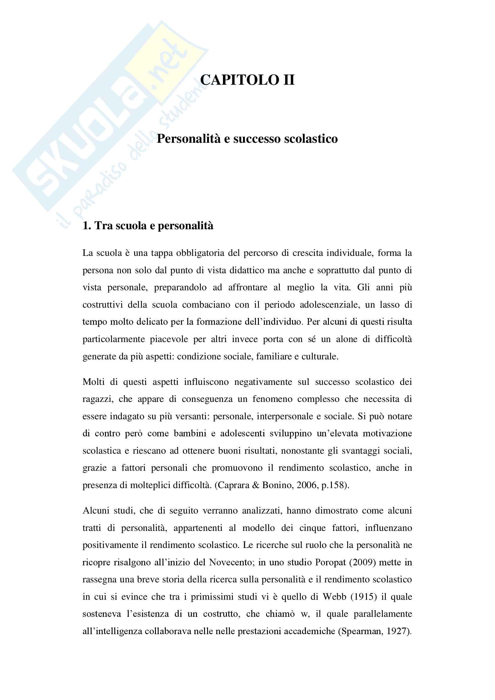 Tratti di personalità e successo scolastico: il ruolo della coscienziosità Pag. 16
