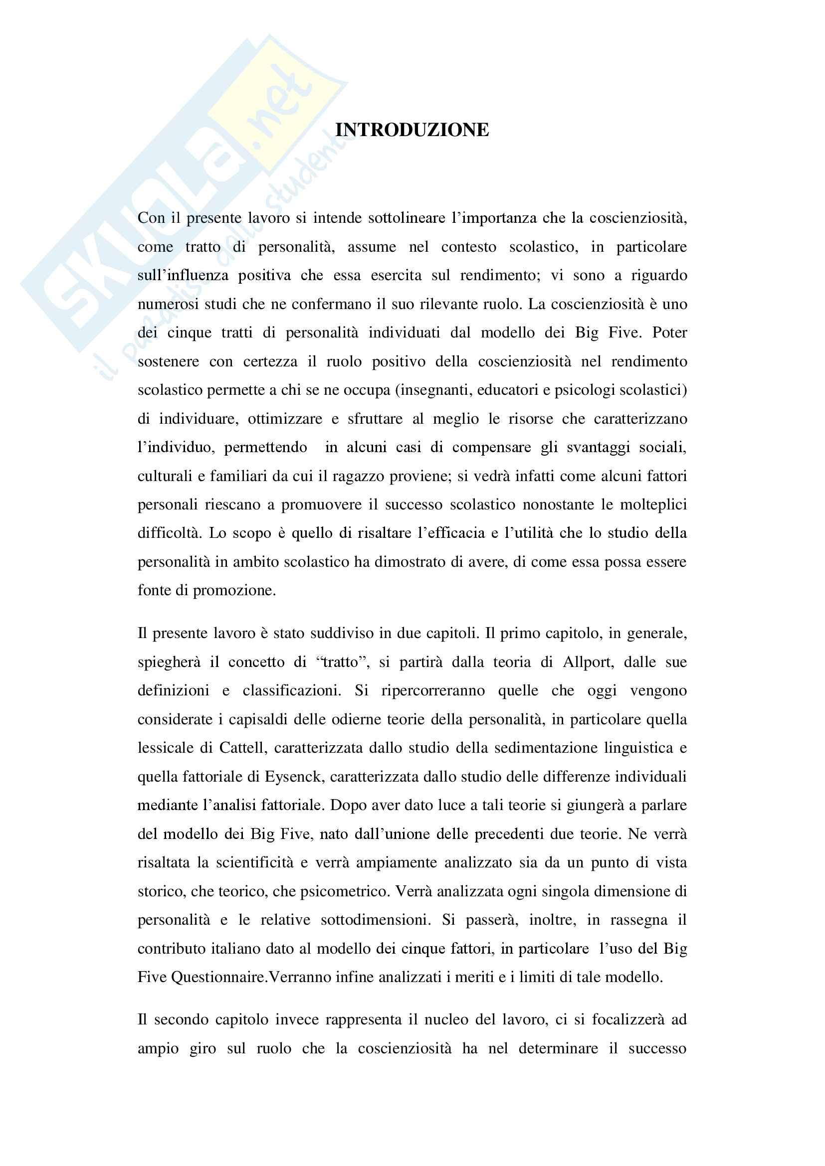 Tratti di personalità e successo scolastico: il ruolo della coscienziosità Pag. 2